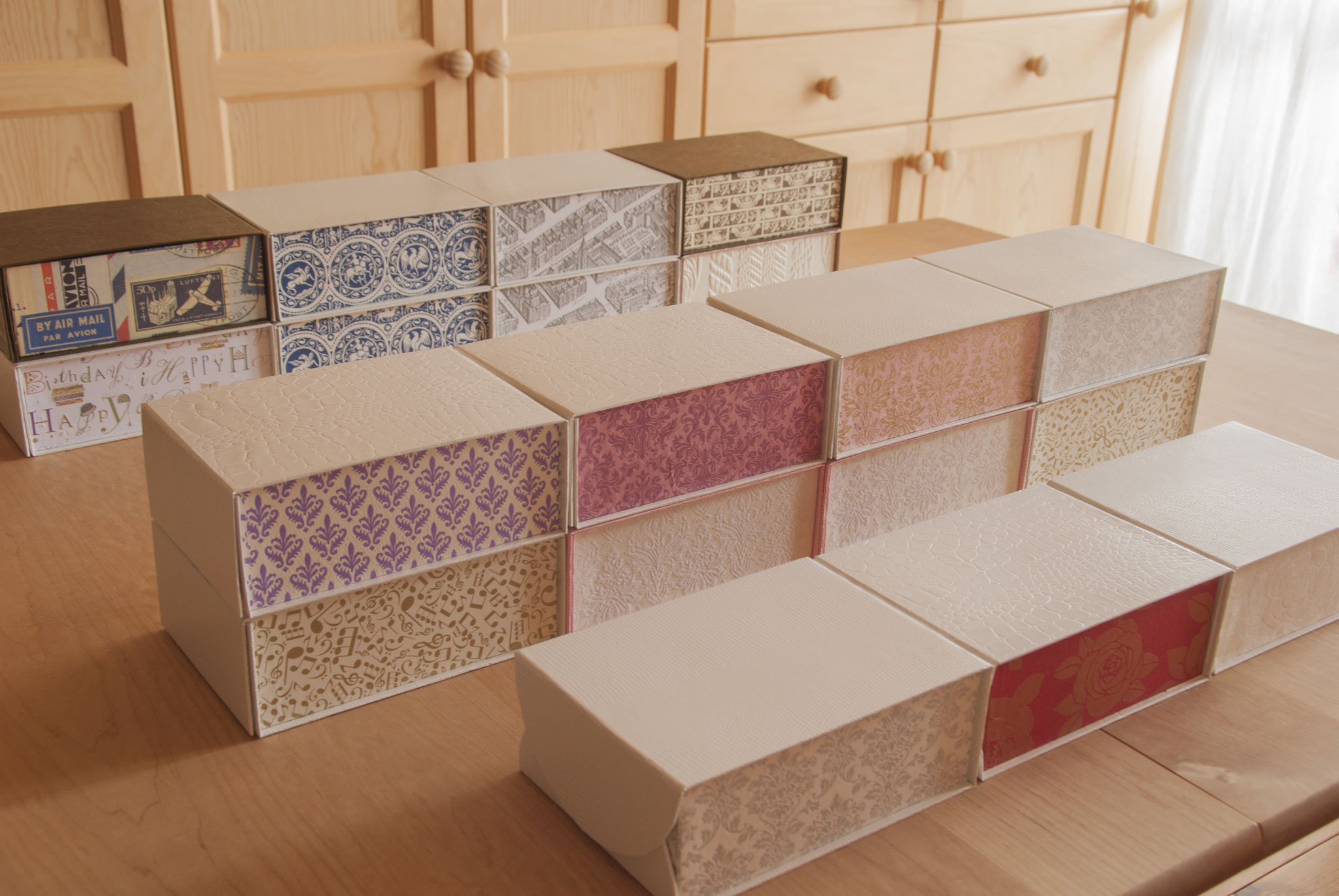 201804 boxes: Postcard(KG) Storage Boxes with magnets. 19 boxes all hand made, 3 of them are special boxes with curved edges. Fleur*Fleur*