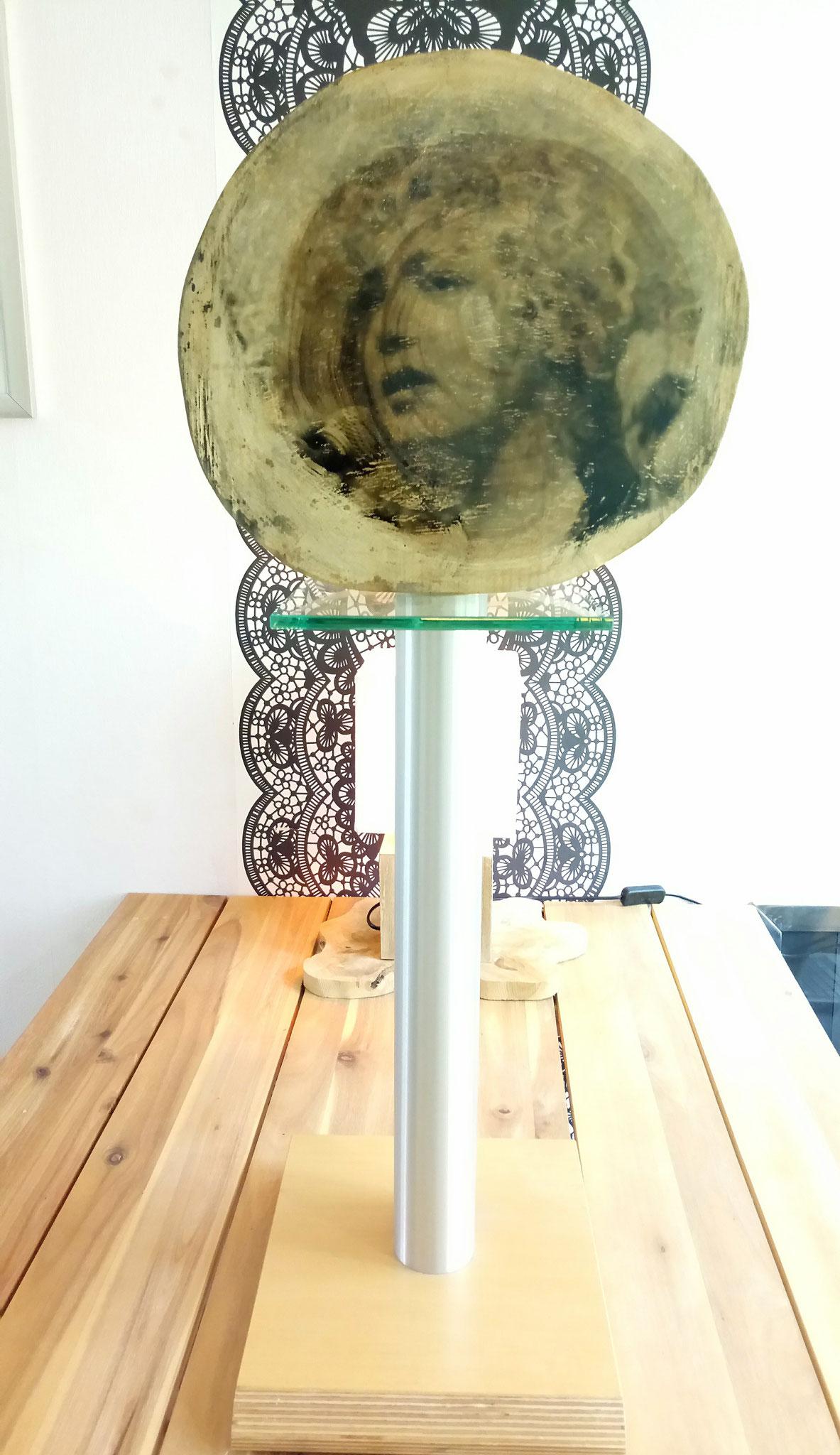 Fototransfer op houtschijf met alluminium voet