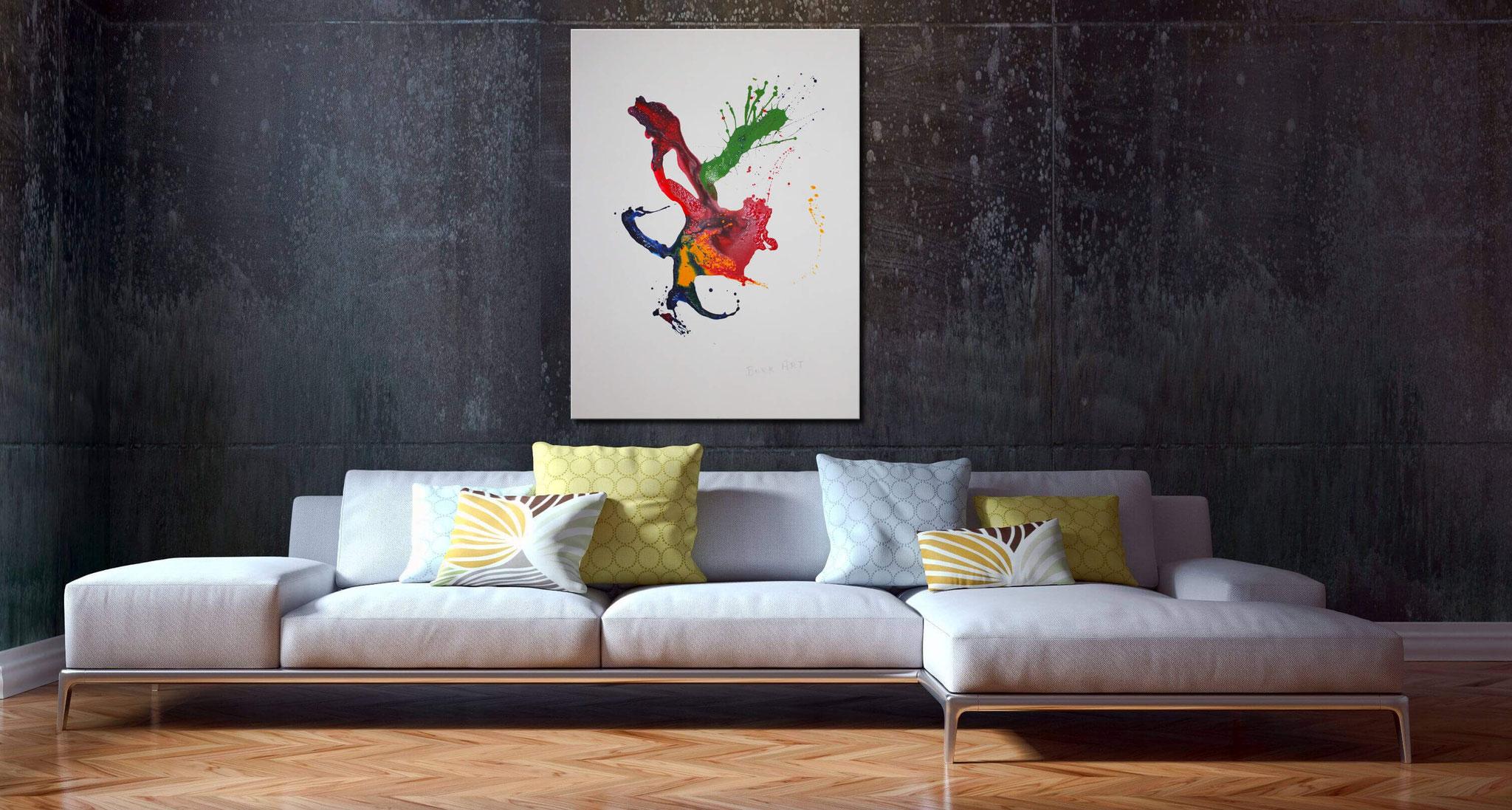 120 x 90 cm - Superstylisches Gemälde mit abstrakten Verläufen in Rot, Blau, Grün u. Gelb