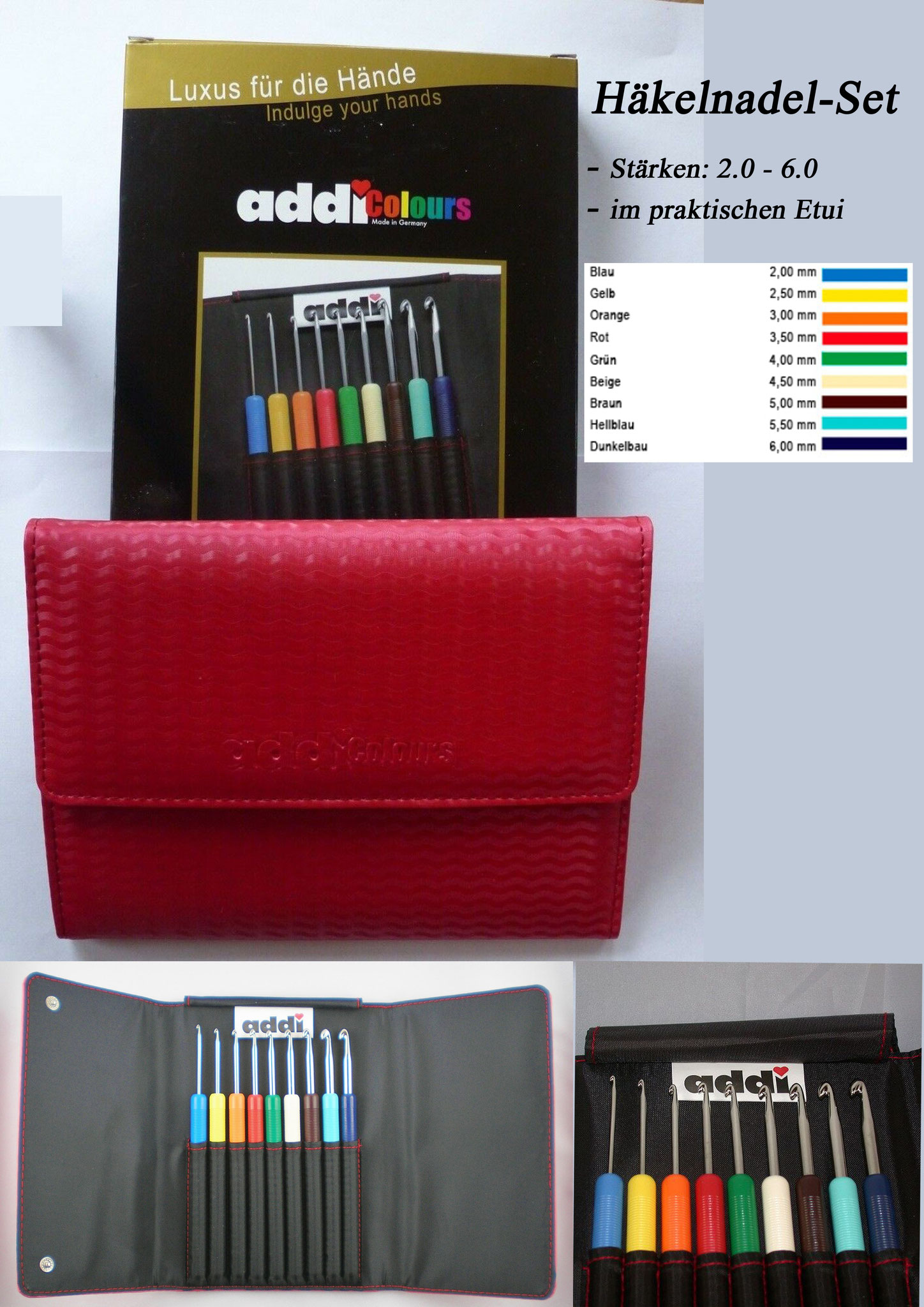 addi Colours Häkelnadel-Set im Etui