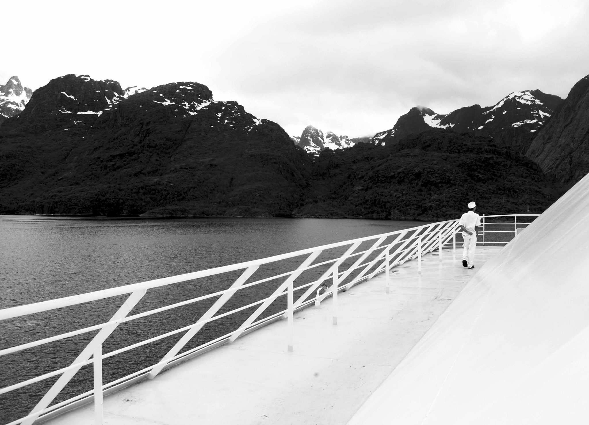 A fine example of a Meandering Man melting into the scenery in Norway. First cruise contract on the Azamara Journey. June 2014