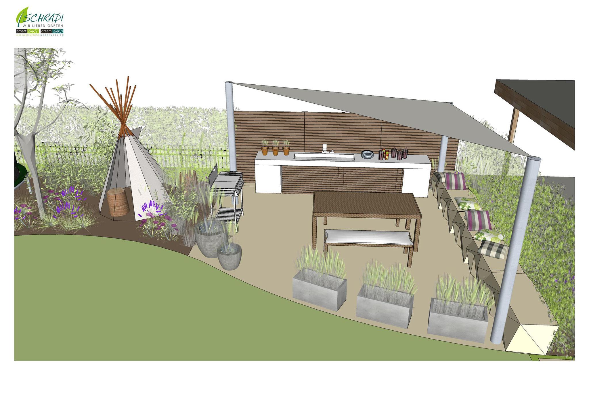 den Garten vor Ausführung in 3D Live erleben