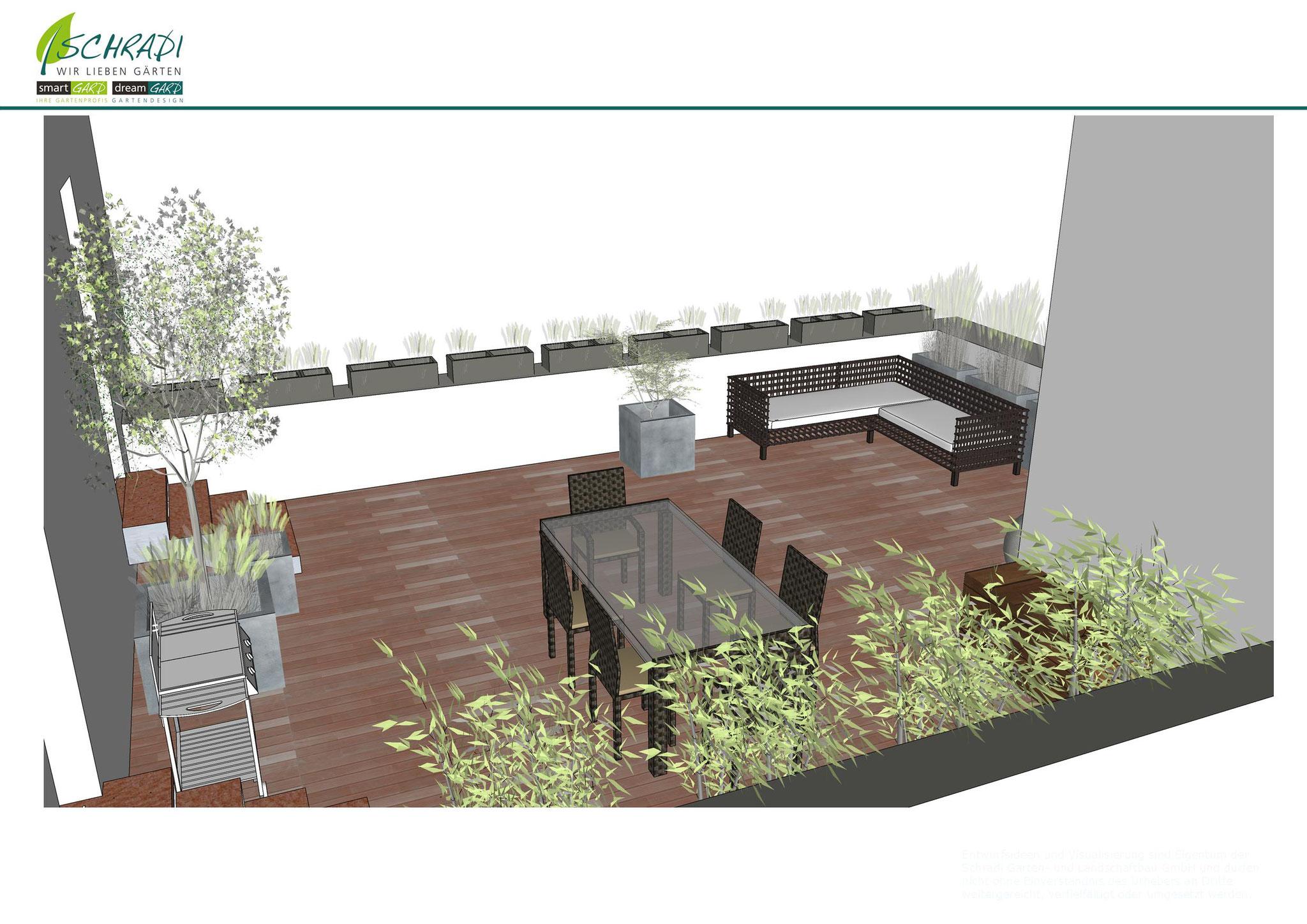 Dachterrassen Gestaltung, vorher in 3D live visualisiert