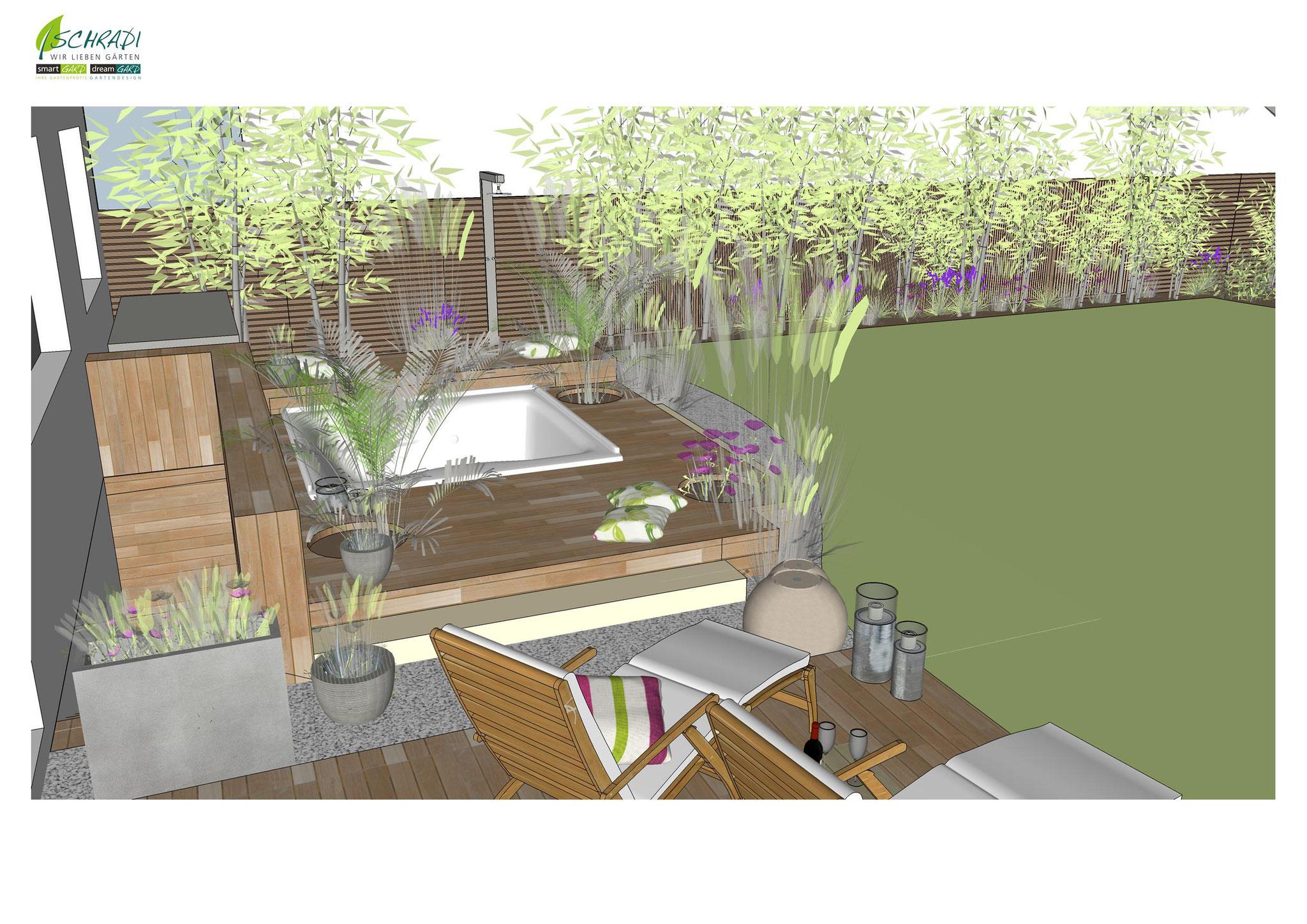 Garten mit Holzterrasse in 3D visualisiert