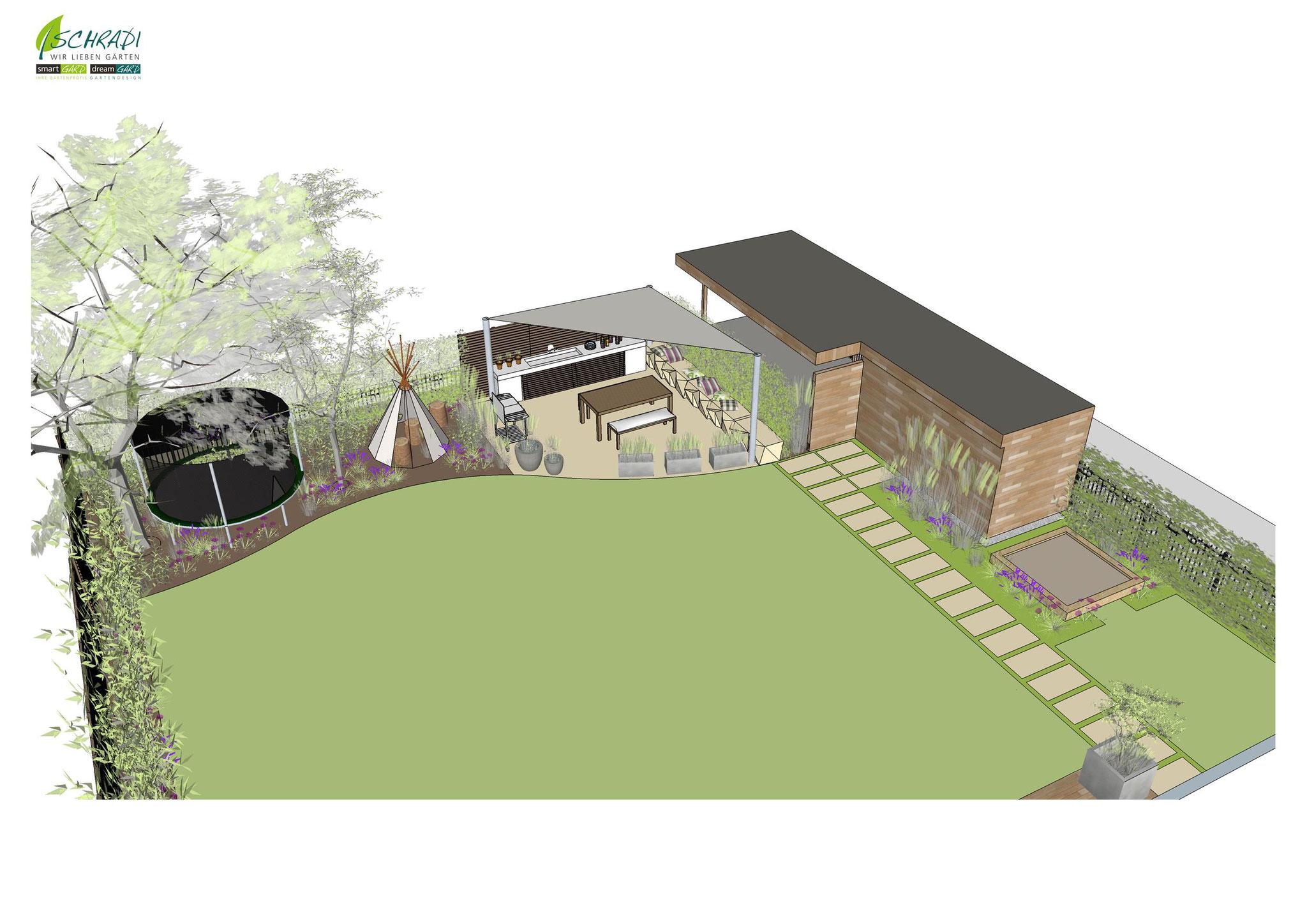 Gartengestaltung modern in3D visualisiert
