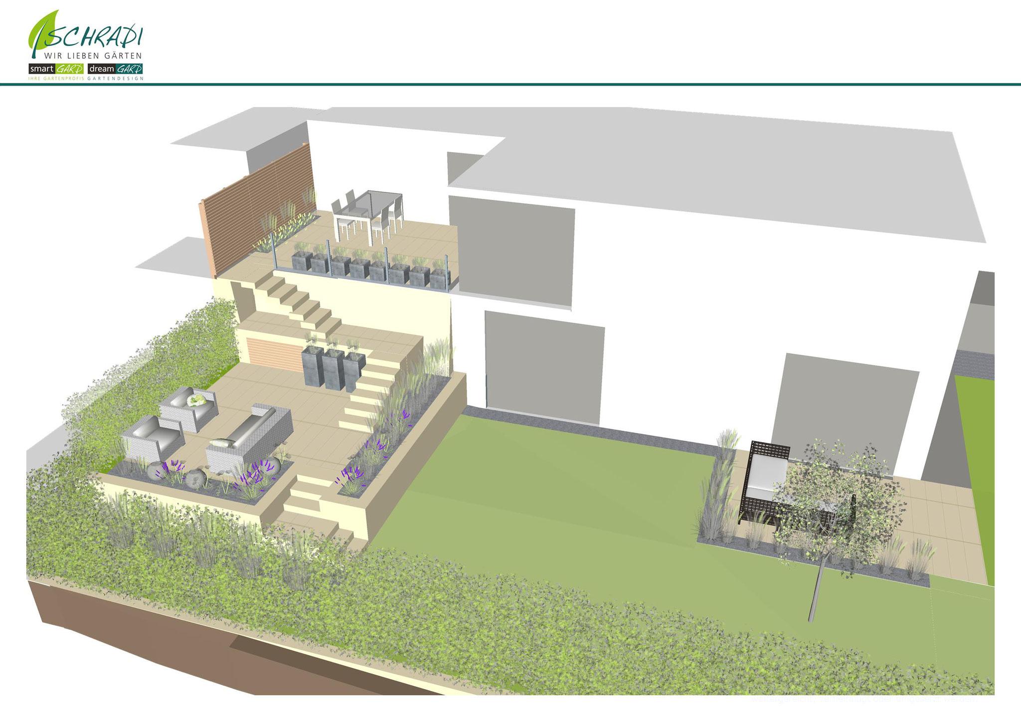 Gestaltung eines Gartens in 3D visualisiert