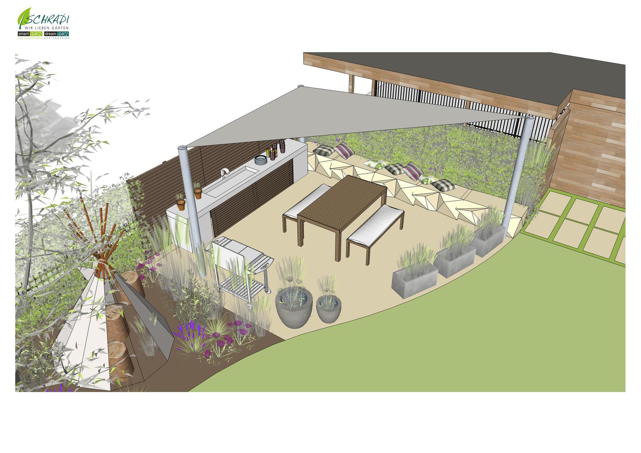 Garten in 3 D dargestellt für eine bessere Vorstellung Ihres Gartens