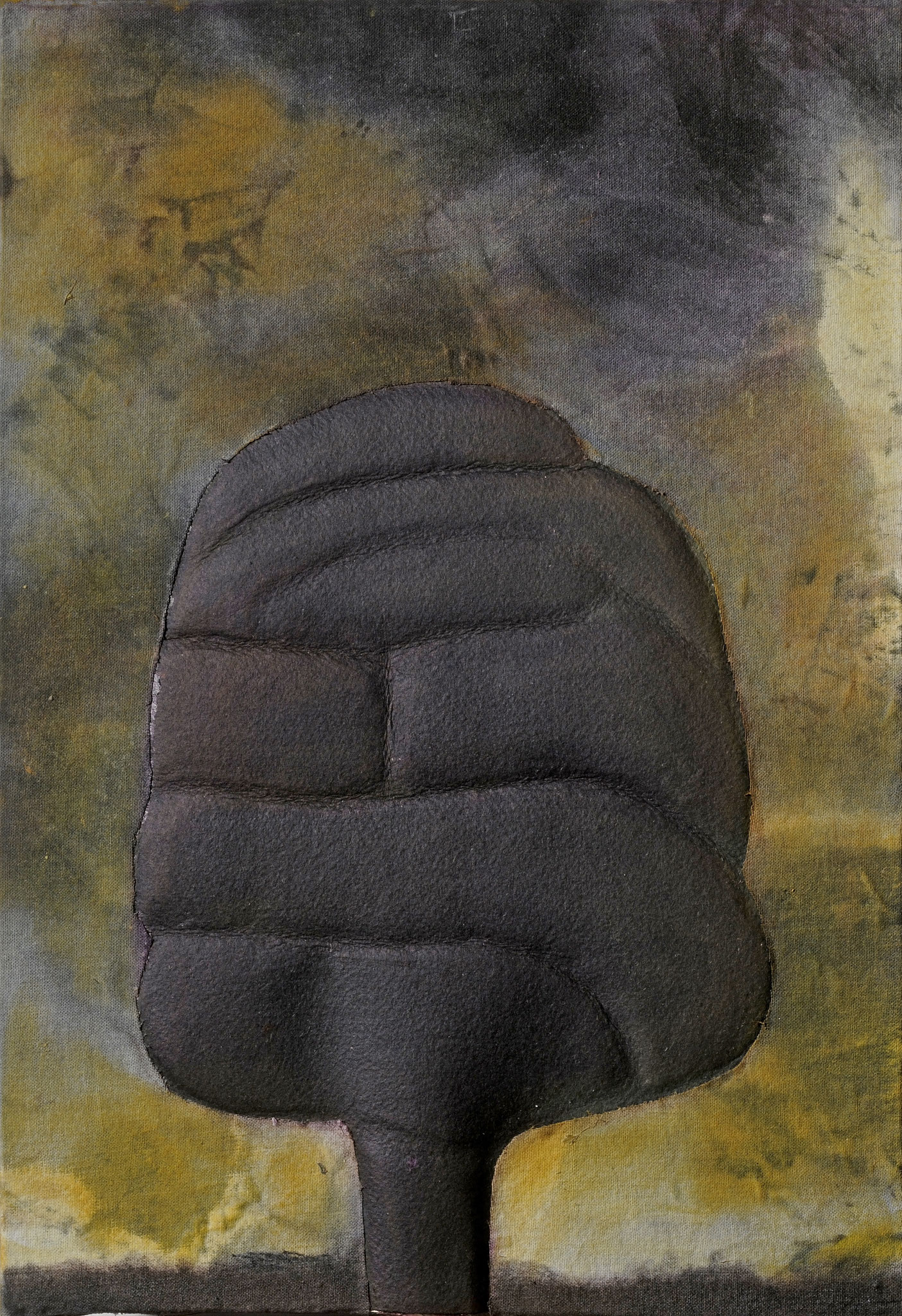 2011. 30,5 x 21 cm. Papier en relief marouflé sur toile avec lès de toile marouflés sur papier. Encre d'imprimerie.