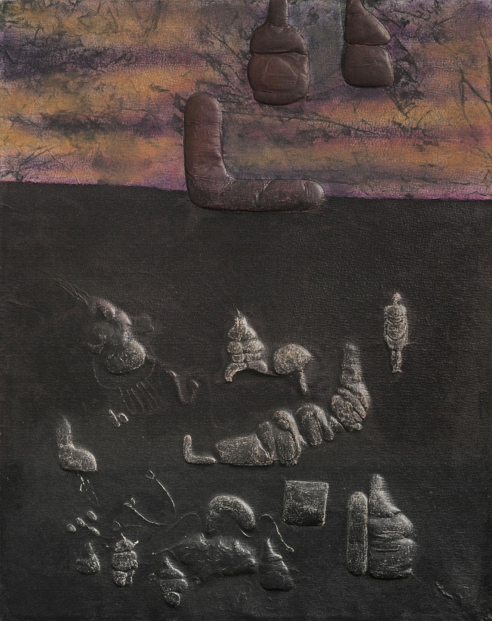 1978 - 2011. 66 x 50 cm. Papier en relief marouflé sur toile avec lès de toile marouflés sur papier. Encre d'imprimerie.