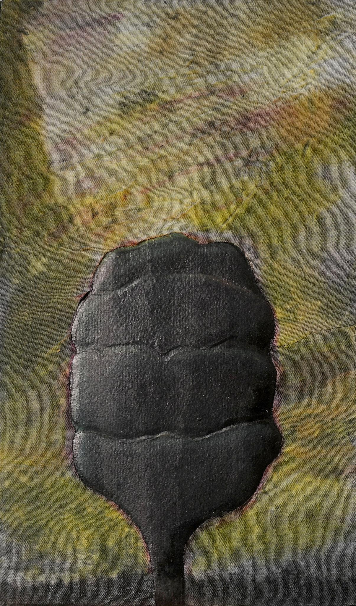 2011. 36,5 x 22 cm. Papier en relief marouflé sur toile avec lès de toile marouflés sur papier. Encre d'imprimerie.