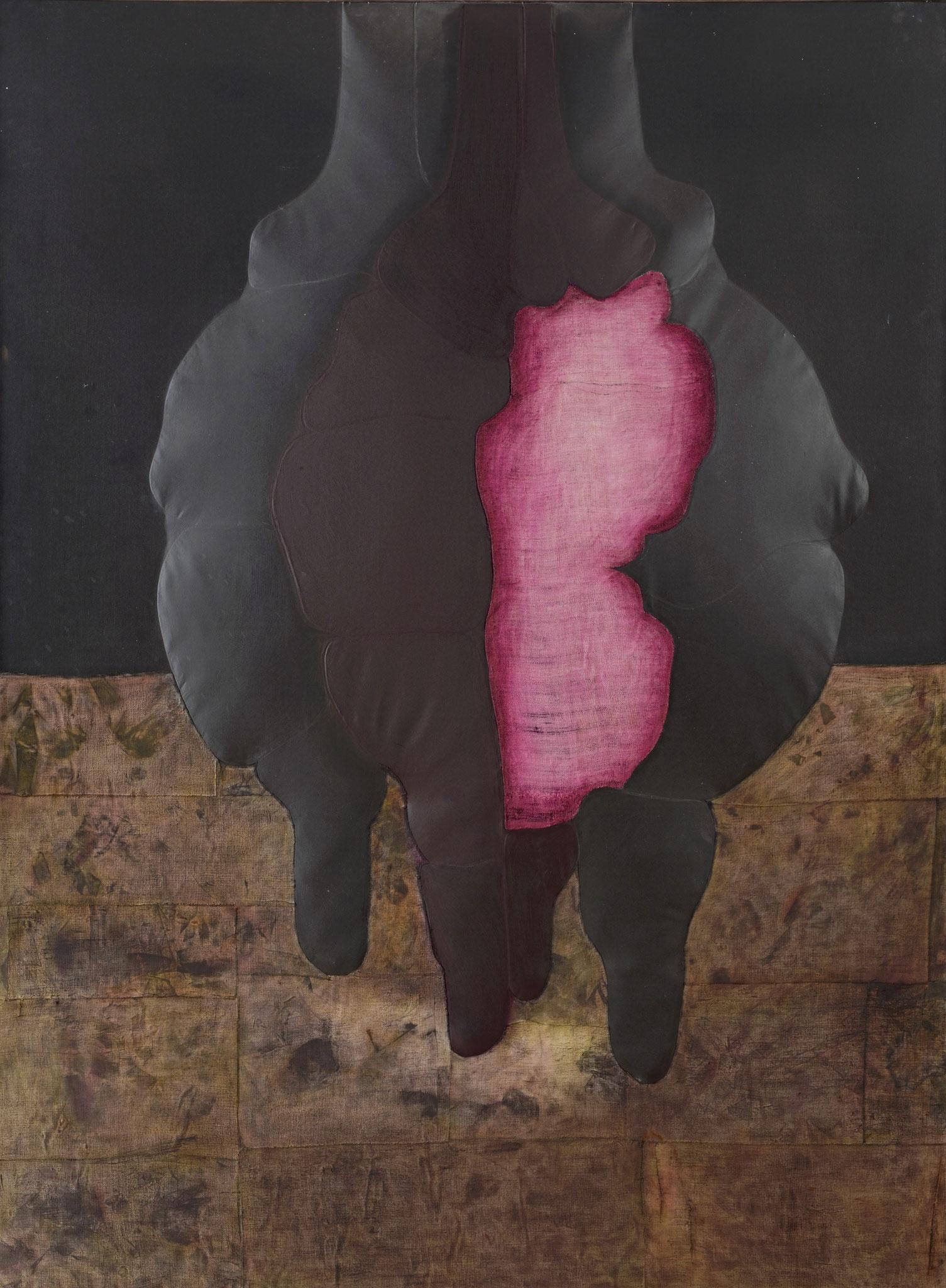1972 - 2011. 195 x 145 cm. Papier en relief marouflé sur toile avec lès de toile marouflés sur papier. Encre d'imprimerie.