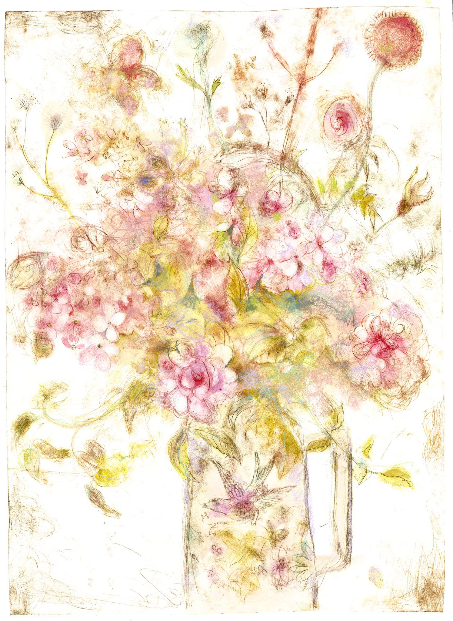 November Bouquet Pinks - handcoloured drypoint image 47x64cm white wood framed 60x78 £345