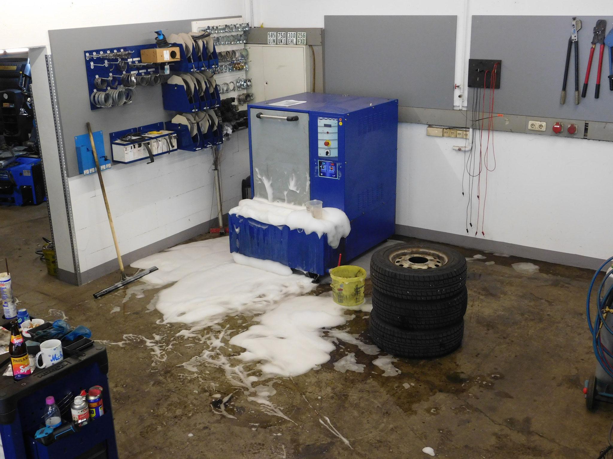 Reifenwaschmaschine - Waschmittelkonzentration leicht verschätzt