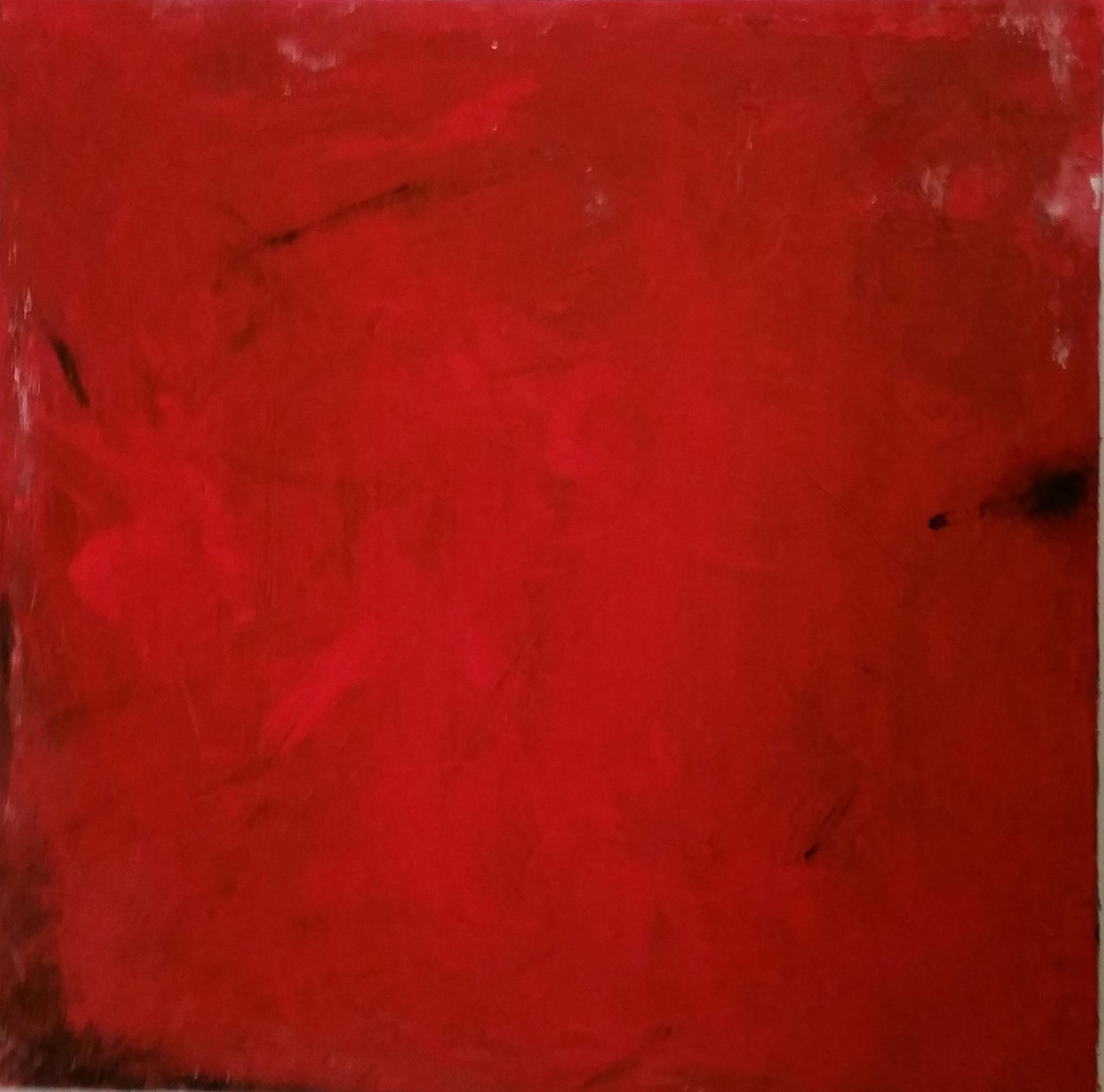 Rot, 70x70 Leinwand, Spachtelmasse, Acryl, Tusche