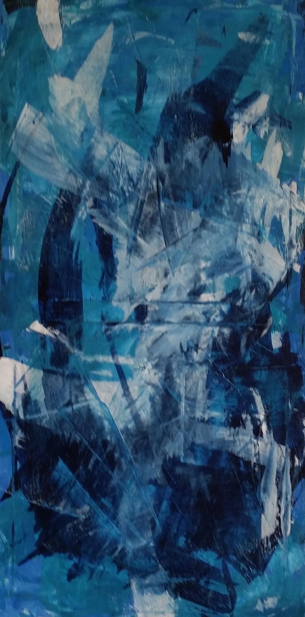 o.T. 40 x 80 Leinwand, Acryl, gespachtelt, verkauft