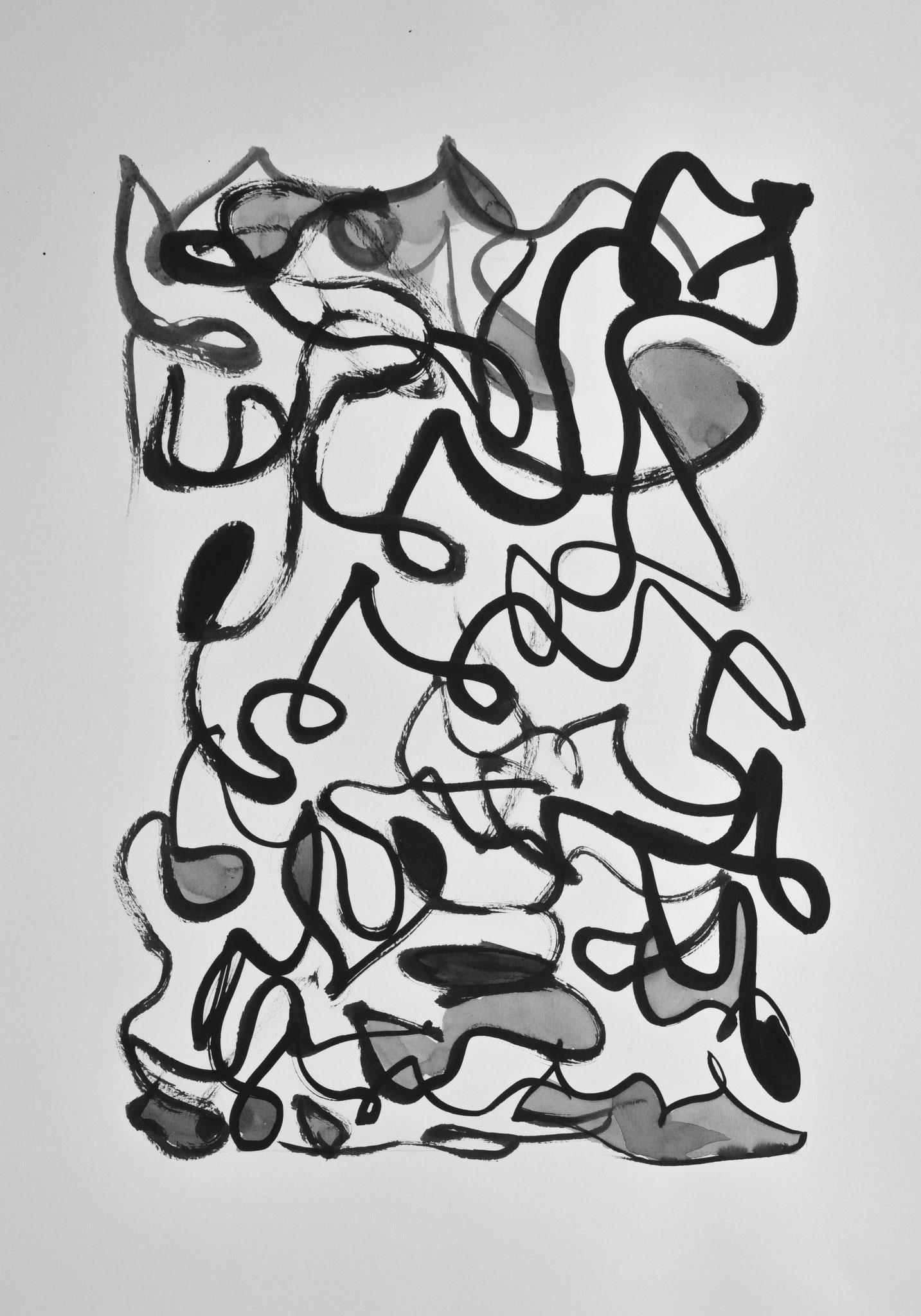 Mouvement encre de chine et acrylique sur papier (vendu)