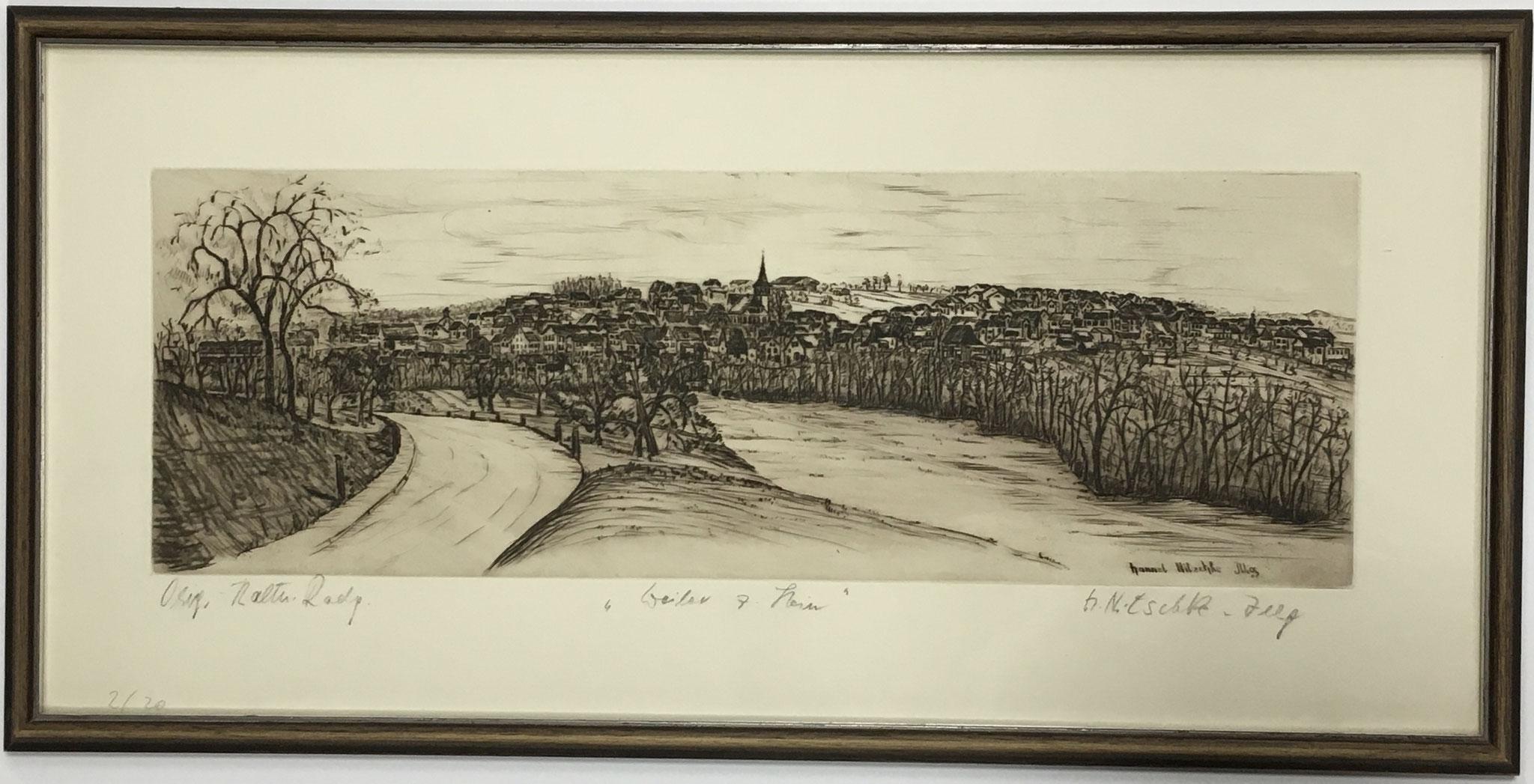 """Hannel-Nitschke-Illg Original Radierung """"Weiler z. Stein""""  Größe/Falzmaß: 59x28, € 145,-"""