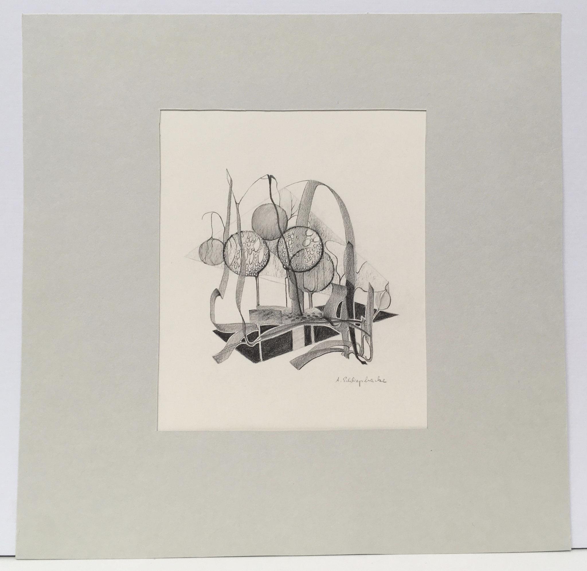 """Bleistiftzeichnung """"Fantasie I"""" - 30 x 30 cm - 390,- €"""