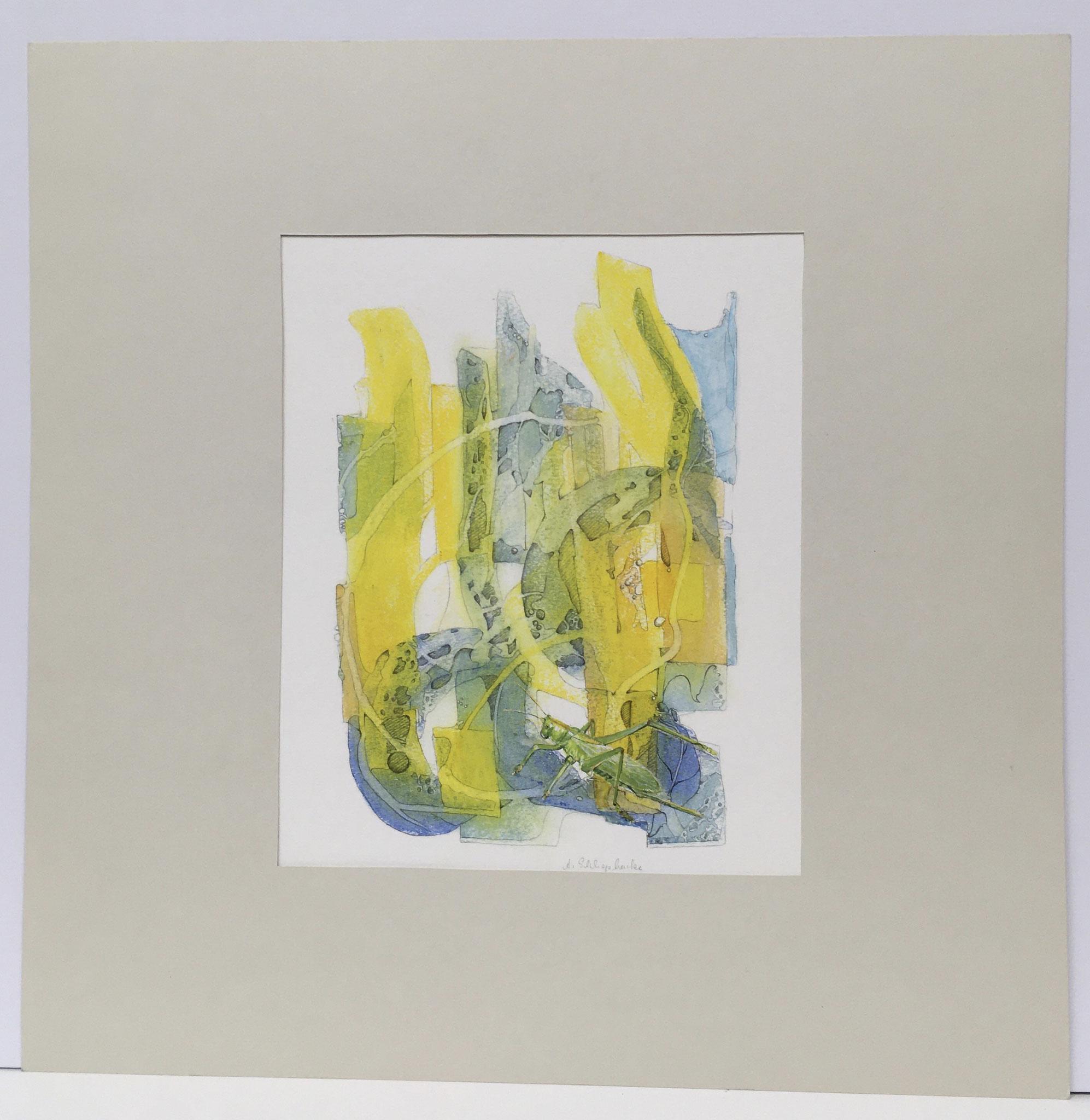 """Ölkreide mit Insekt """"Heuschrecke"""" - 40 x 50 cm - 590,- €"""