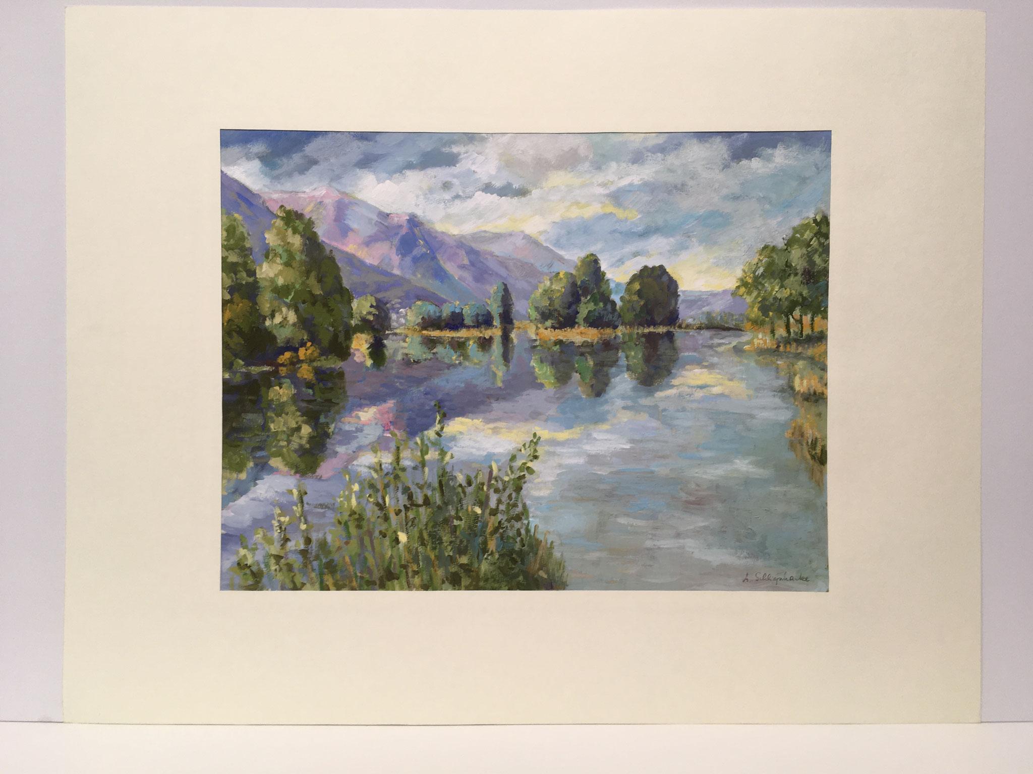 """Orig. Gouache auf Papier """"Lago Maggiore bei Magadino"""" - 90 x 70 cm - 1.490,-€"""