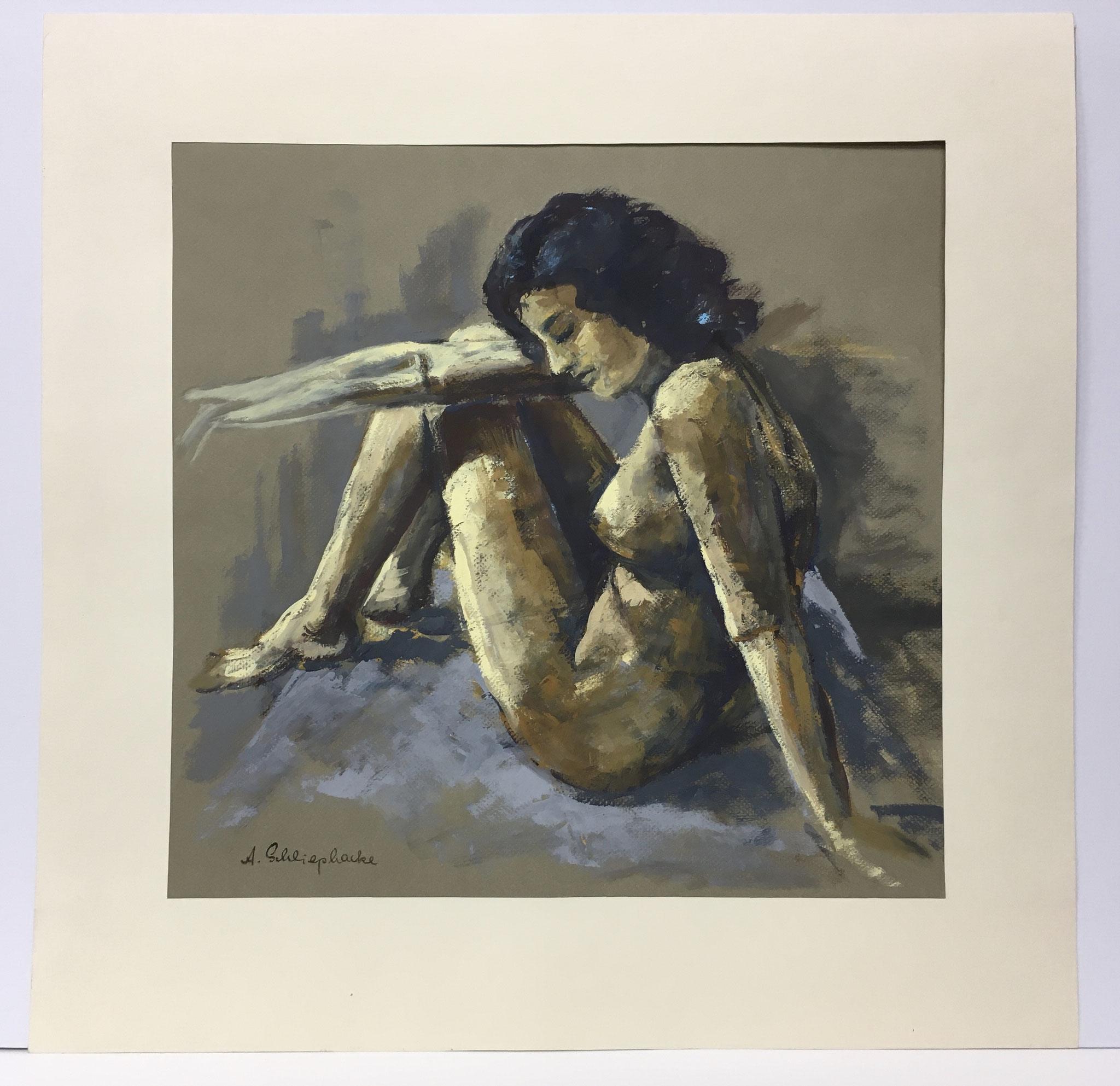"Orig. Gouache auf Papier ""Frauenakt (sitzend)"" - 60 x 60 cm - 990,-€"