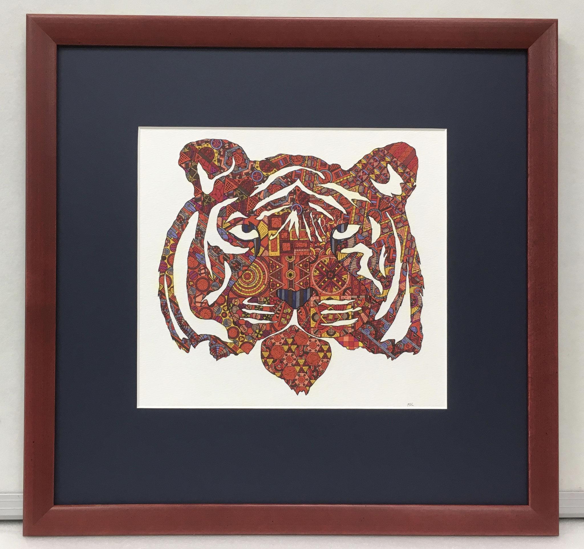 """Original Zeichnung """"Tiger"""" von Michael Clarke"""
