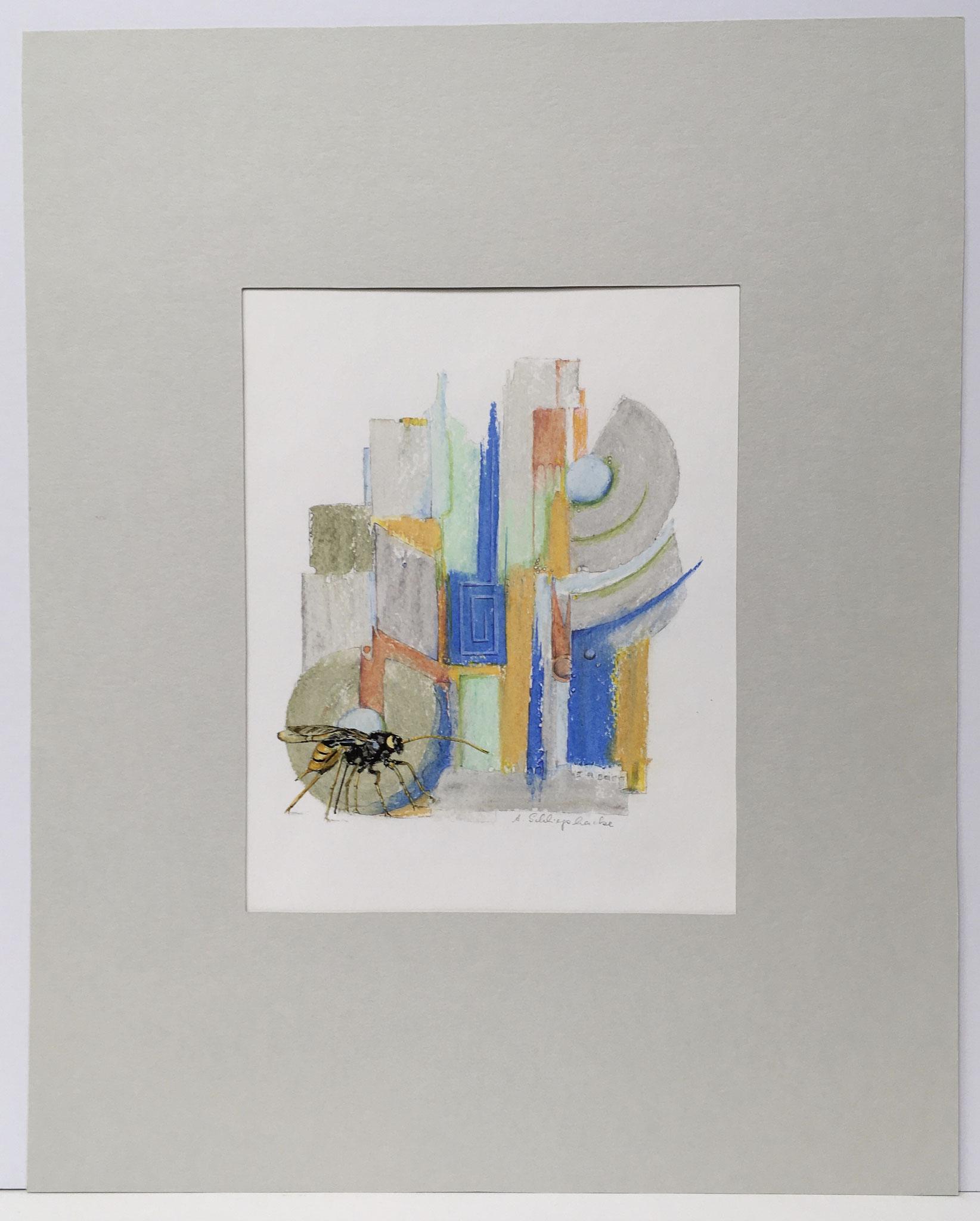 "Ölkreide mit Insekt ""Riesenholzwespe"" - 40 x 50 cm - 590,- €"