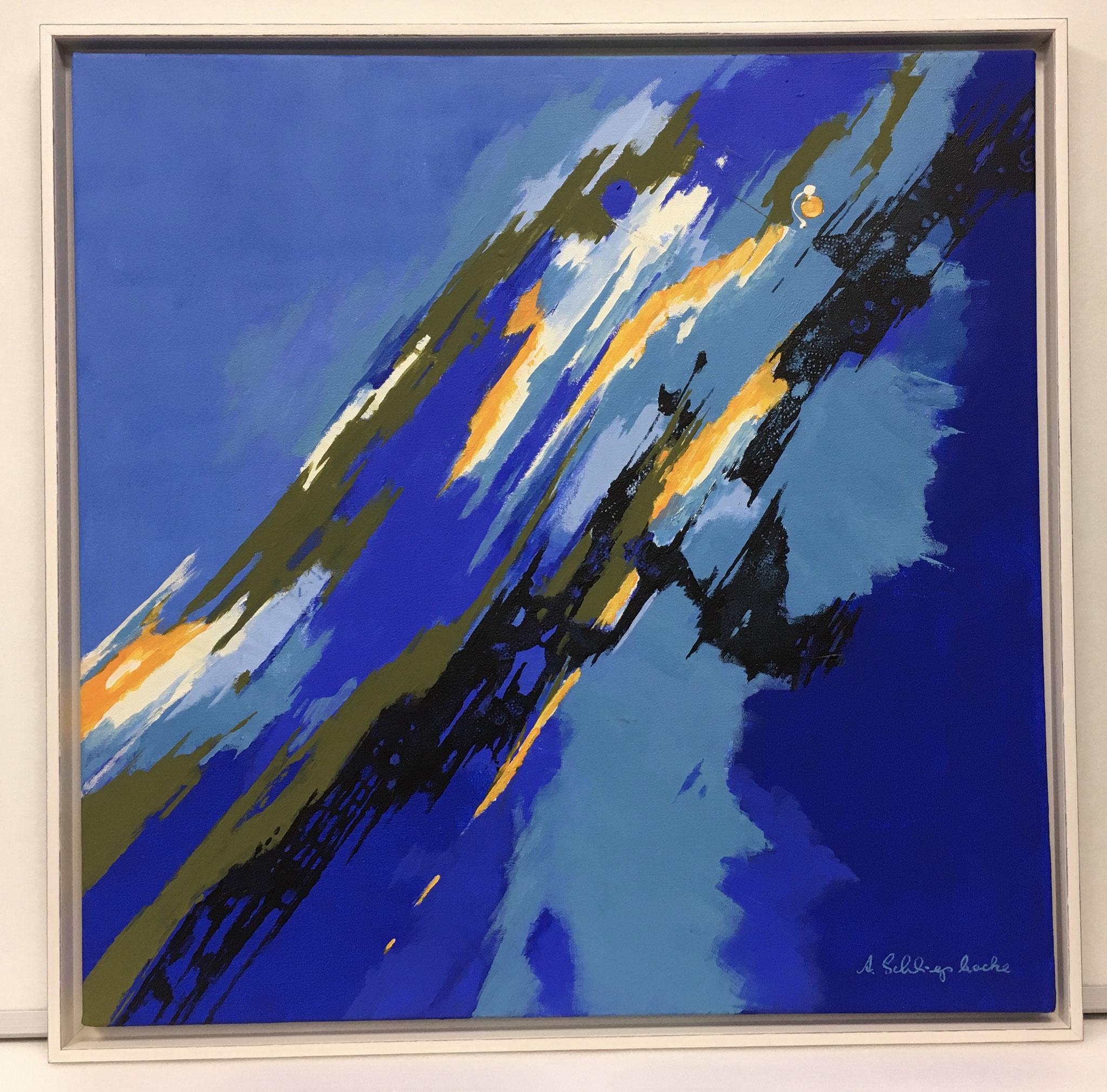 """Orig. Acrylbild auf Leinwand """"Diagonale im Blau"""" - 75 x 75cm - gerahmt 1.440,-€"""