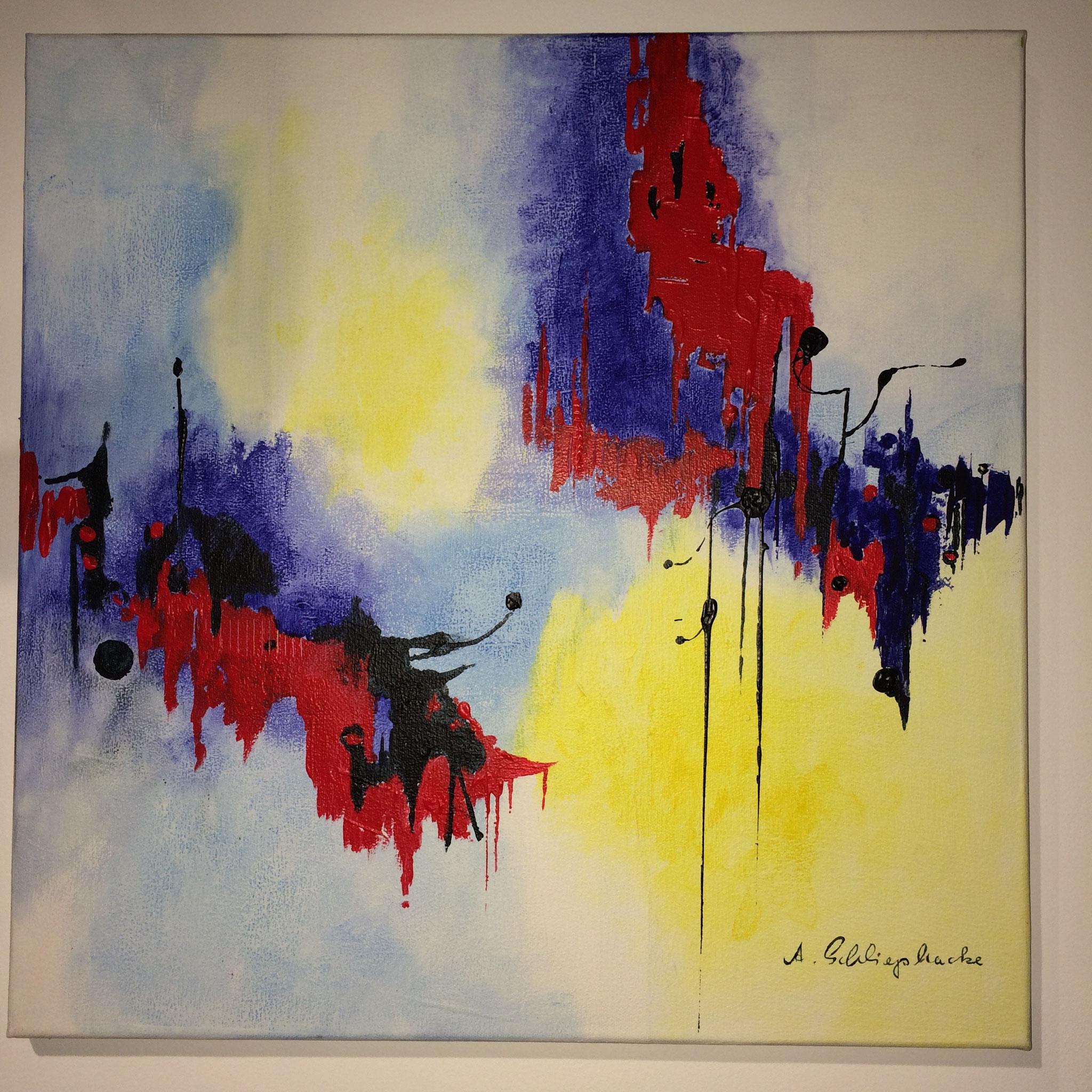 """Orig. Acrylbild auf Leinwand """"Rot trifft blau"""" - 50 x 50cm - 990,-€"""