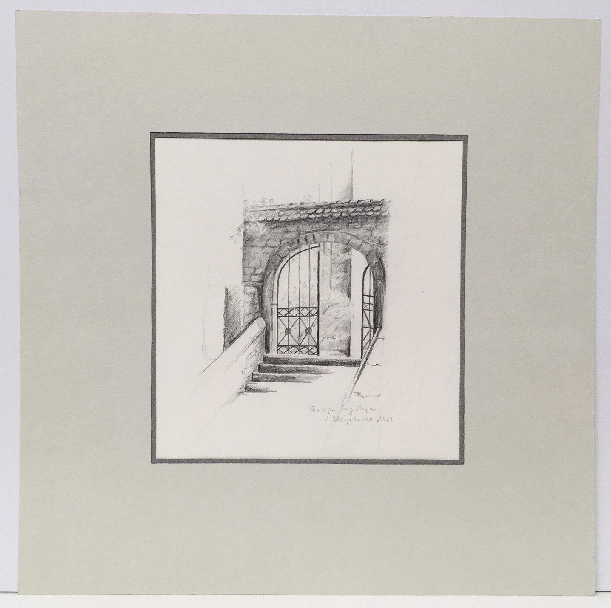 """Bleistiftzeichnung """"Zwingenberg"""" - 40 x 40 cm - 390,- €"""