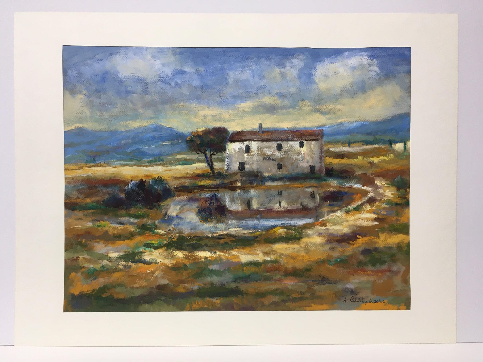 """Orig. Gouache auf Papier """"Haus in der Toscana"""" - 90 x 70 cm - 1.490,-€"""