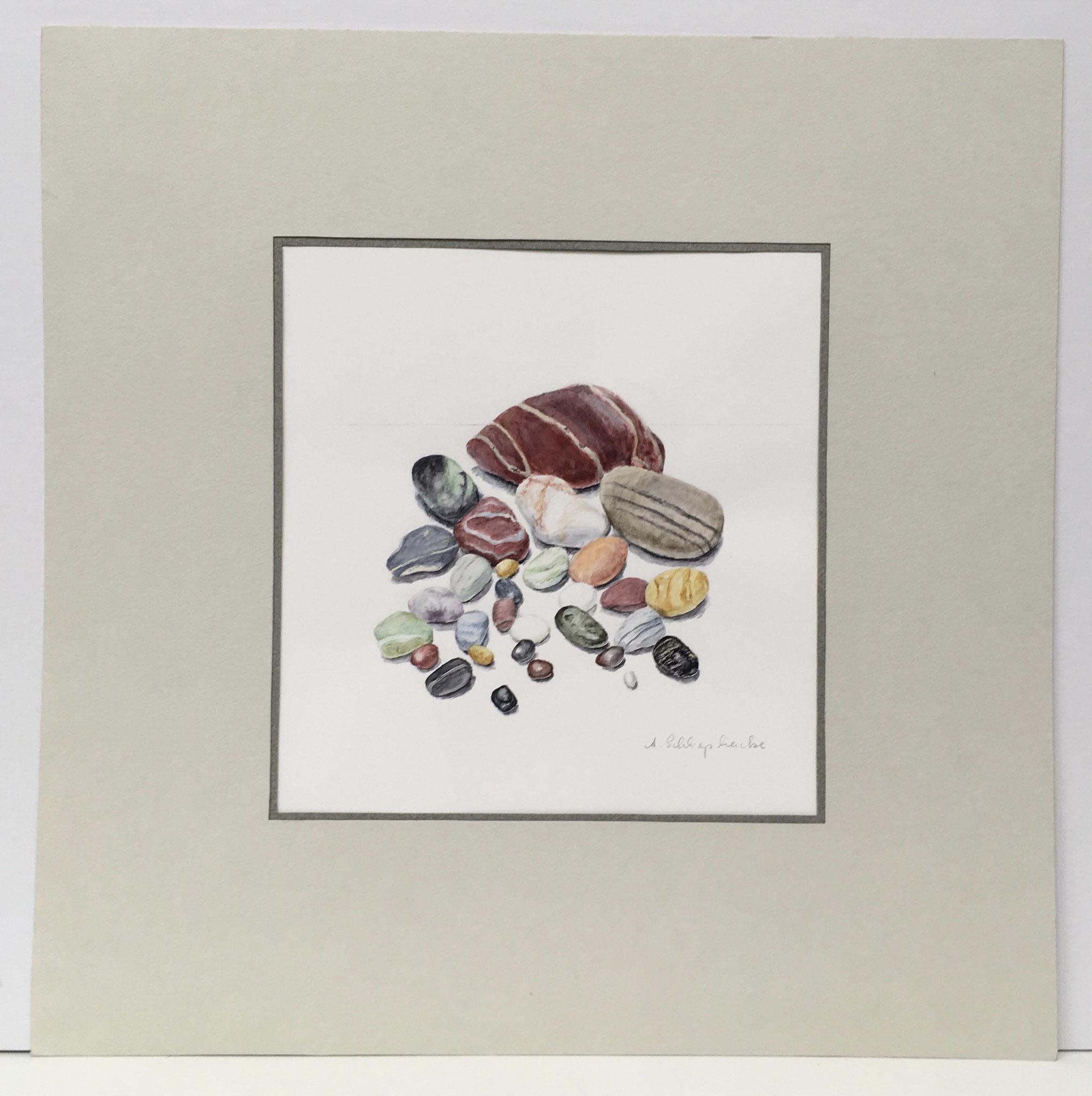 """Mischtechnik """"Kiesel von Lesbos"""" - 40 x 40 cm - 380,- €"""
