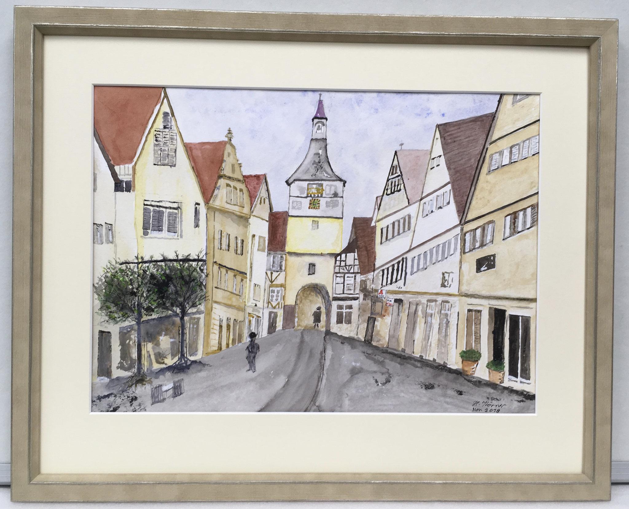 Künstler malt seine Stadt für zuhause.