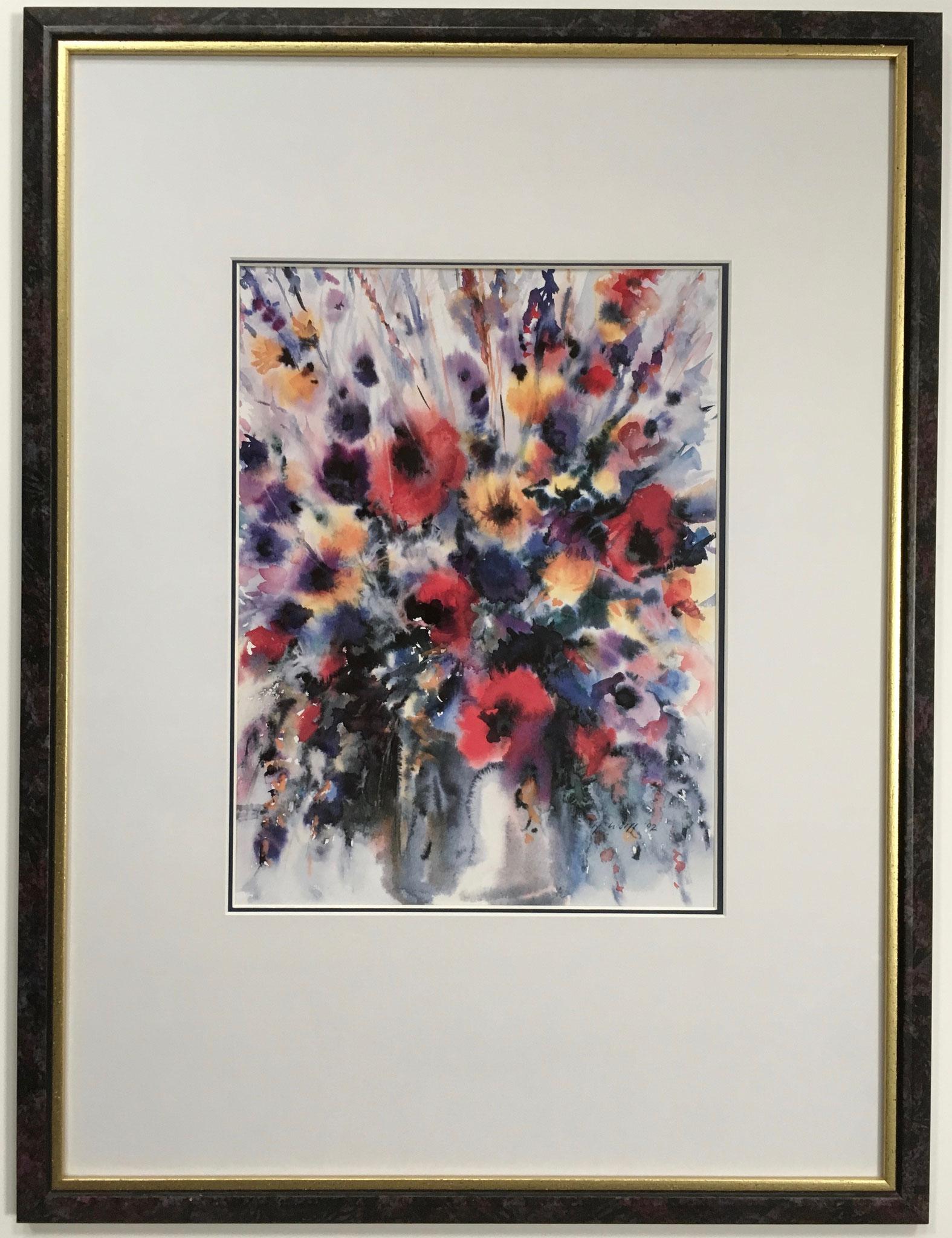 """Kunstdruck """"Blumenstrauß"""" mit Doppelpassepartout gerahmt Größe/Falzmaß: 56,0 x 76,0cm € 199,-"""