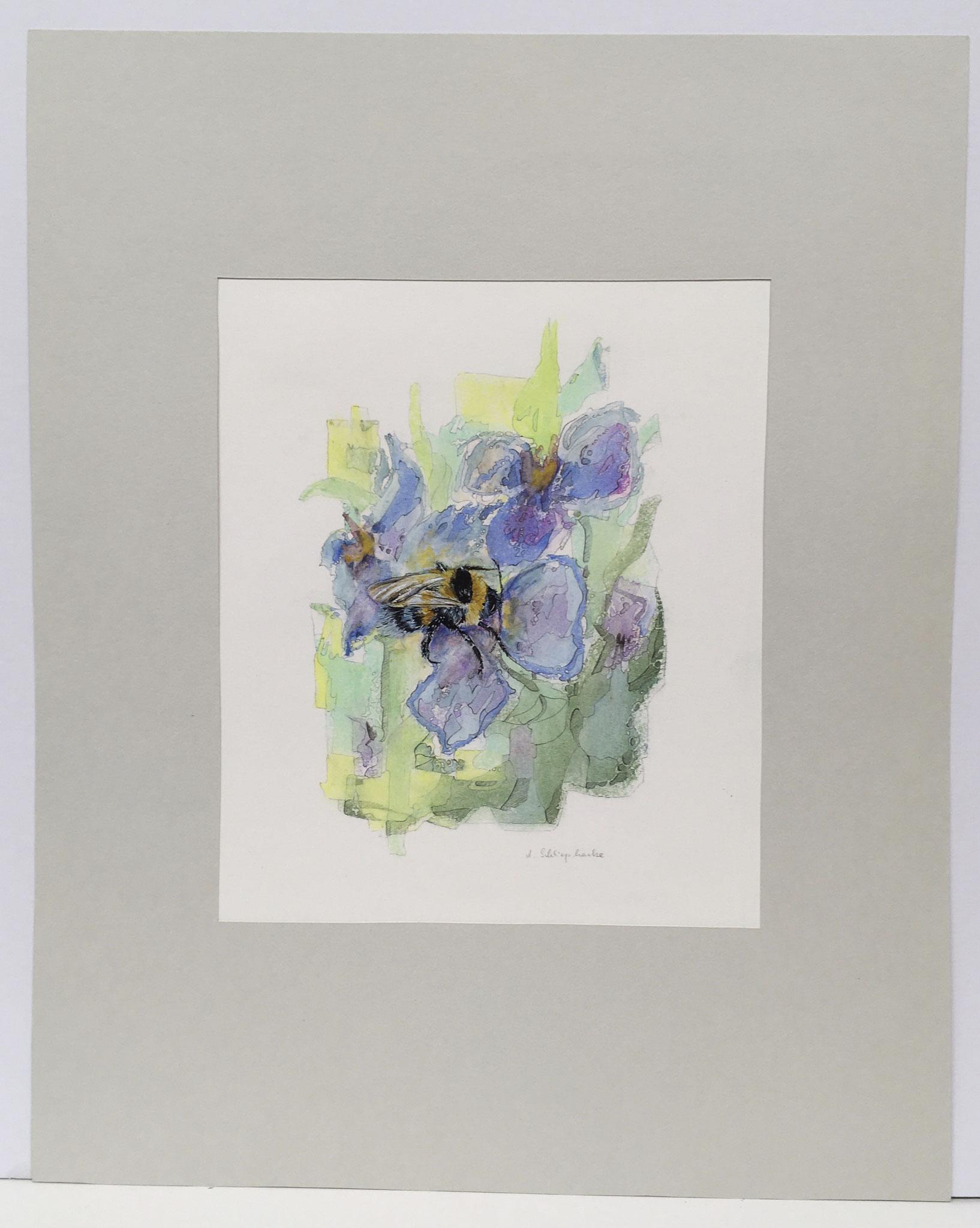 """Ölkreide mit Insekt """"Gartenhummel"""" - 40 x 50 cm - 590,- €"""