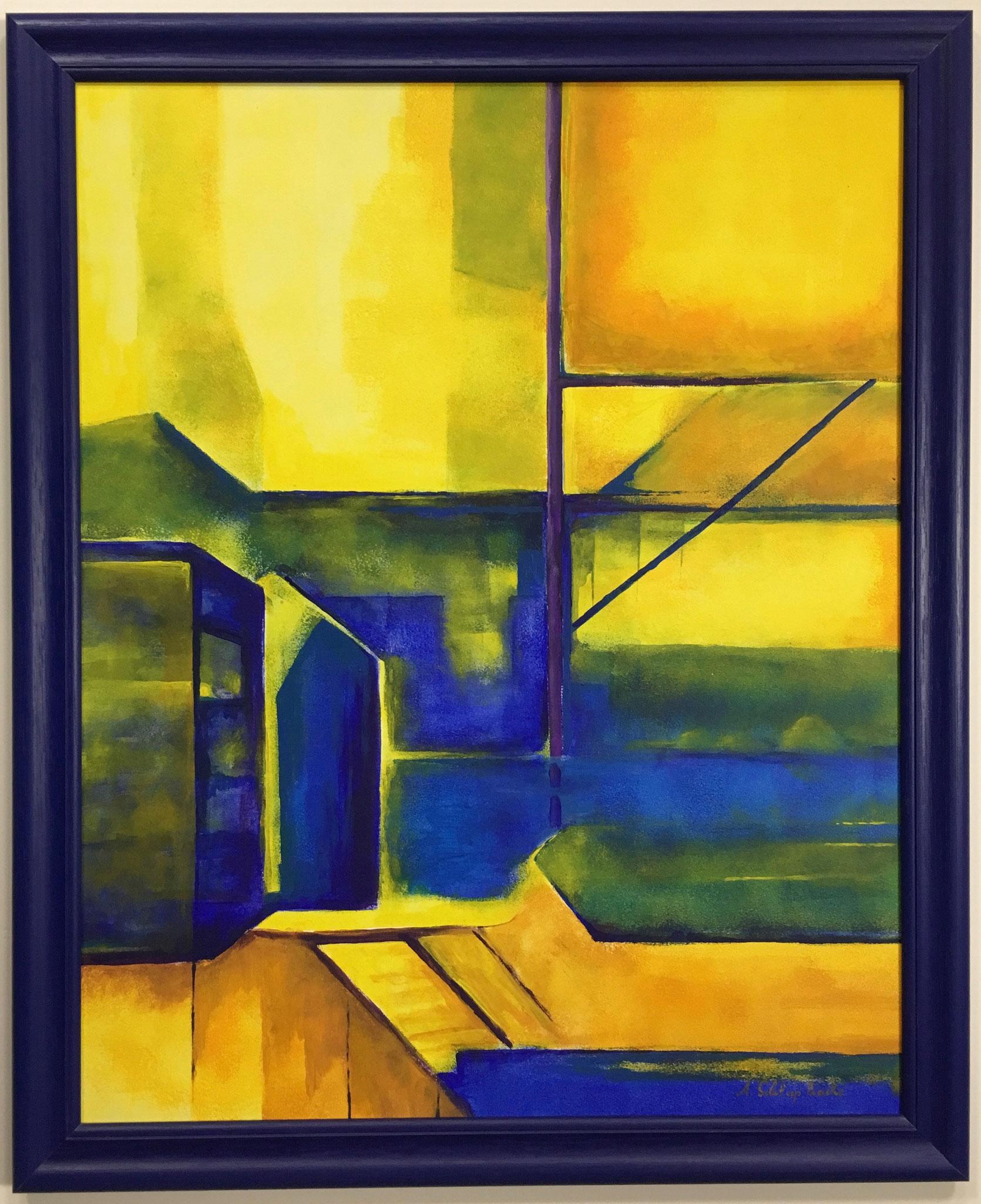 "Anne Schliephacke "" Komposition blau im gelb"" Acrylbild Größe/Falzmaß: 60,0 x 75,0cm € 1.350,-"