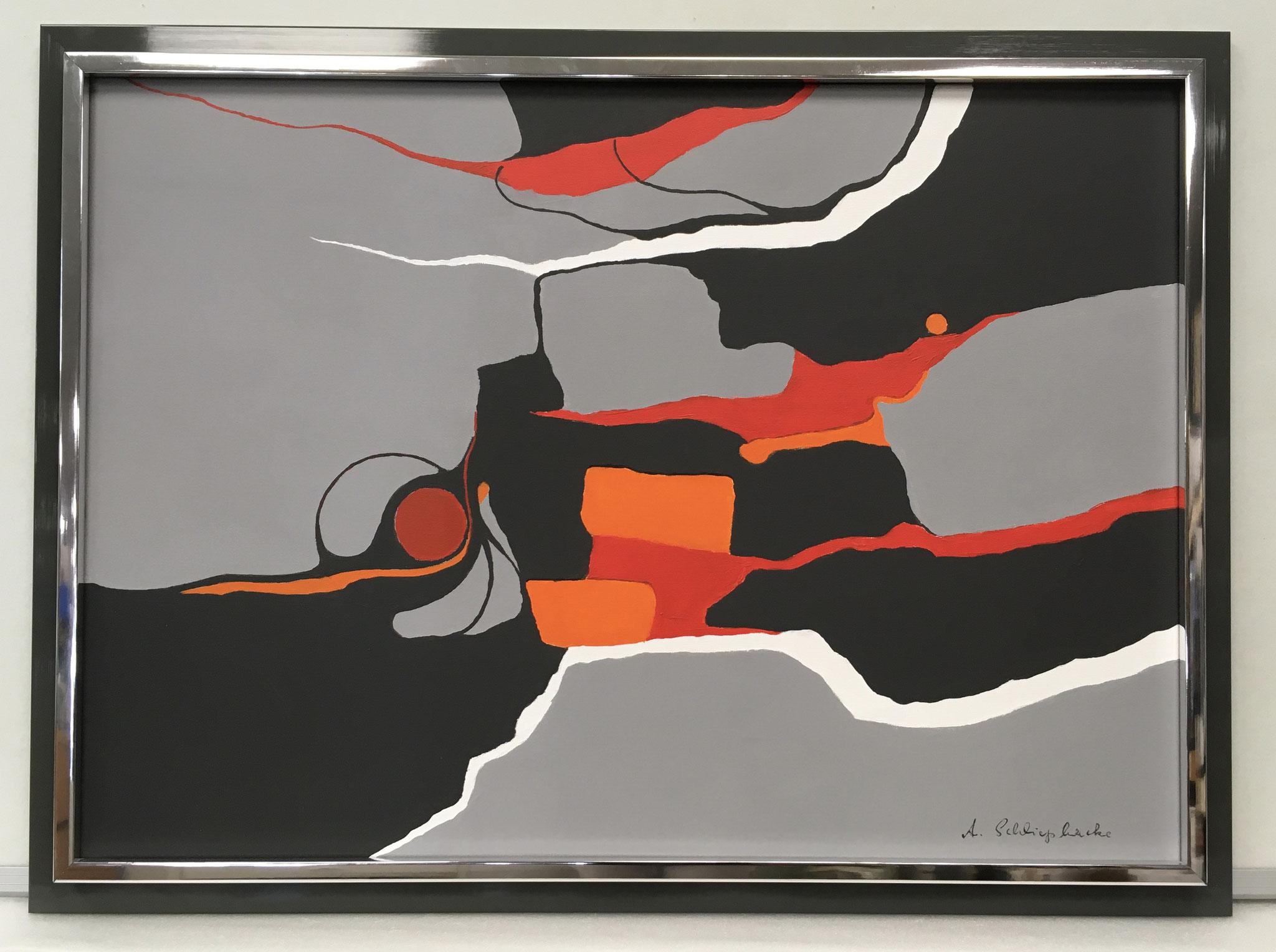 """Orig. Acrylbild auf Leinwand """"Großer roter Punkt in schwarz"""" - 75 x 55cm - gerahmt 990,-€"""