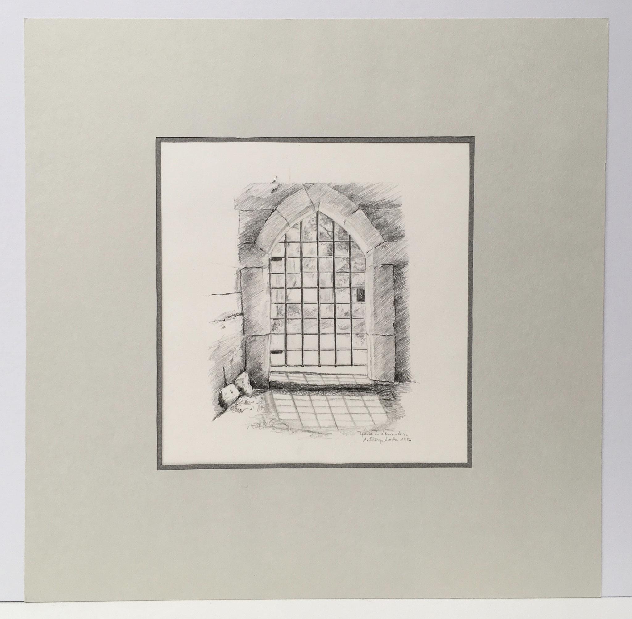 """Bleistiftzeichnung """"Pforte in Löwenstein"""" - 40 x 40 cm - 390,- €"""
