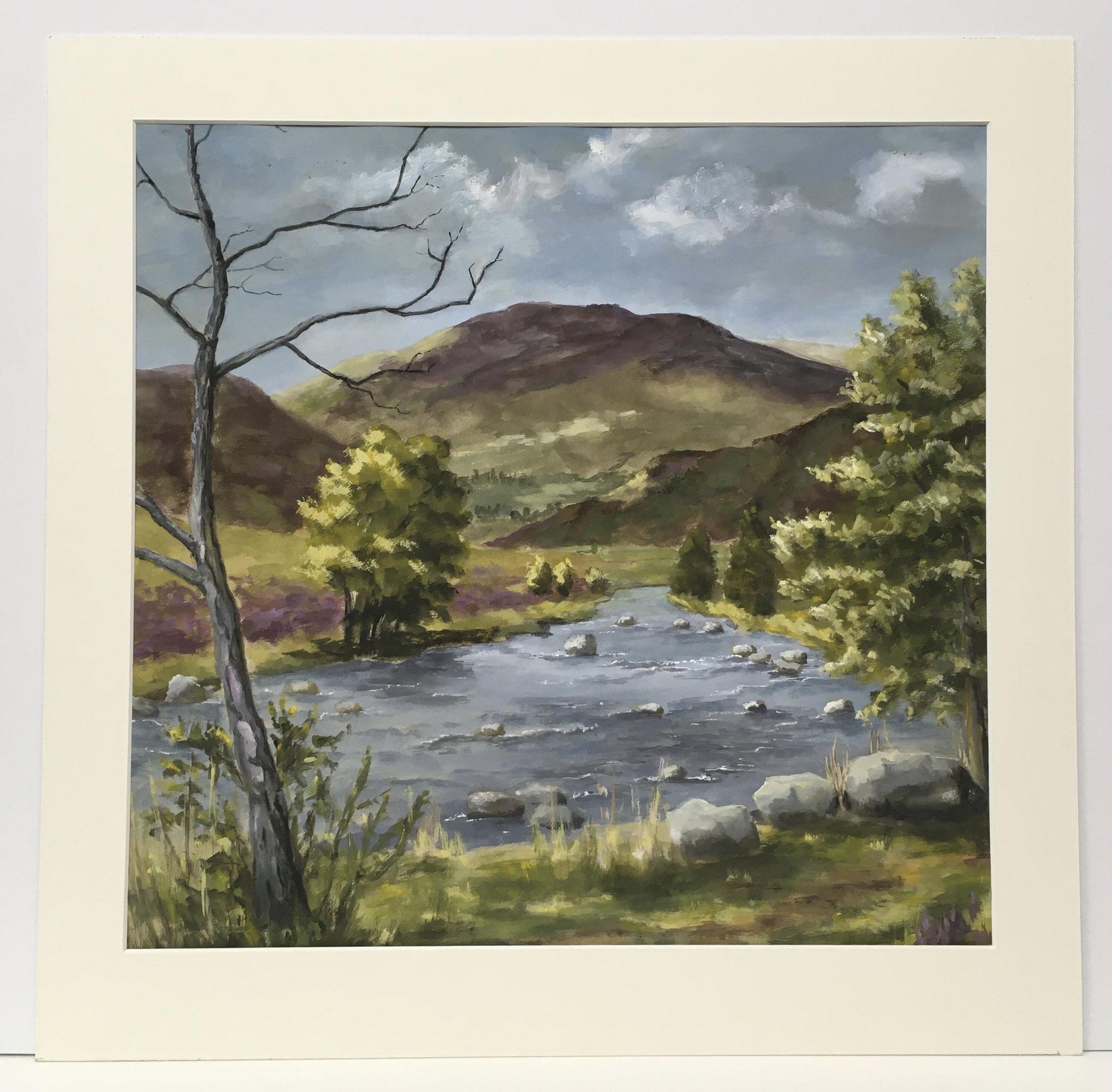 "Orig. Gouache auf Papier ""Schottland, Black River"" - 54 x 53 cm - 590,-€"