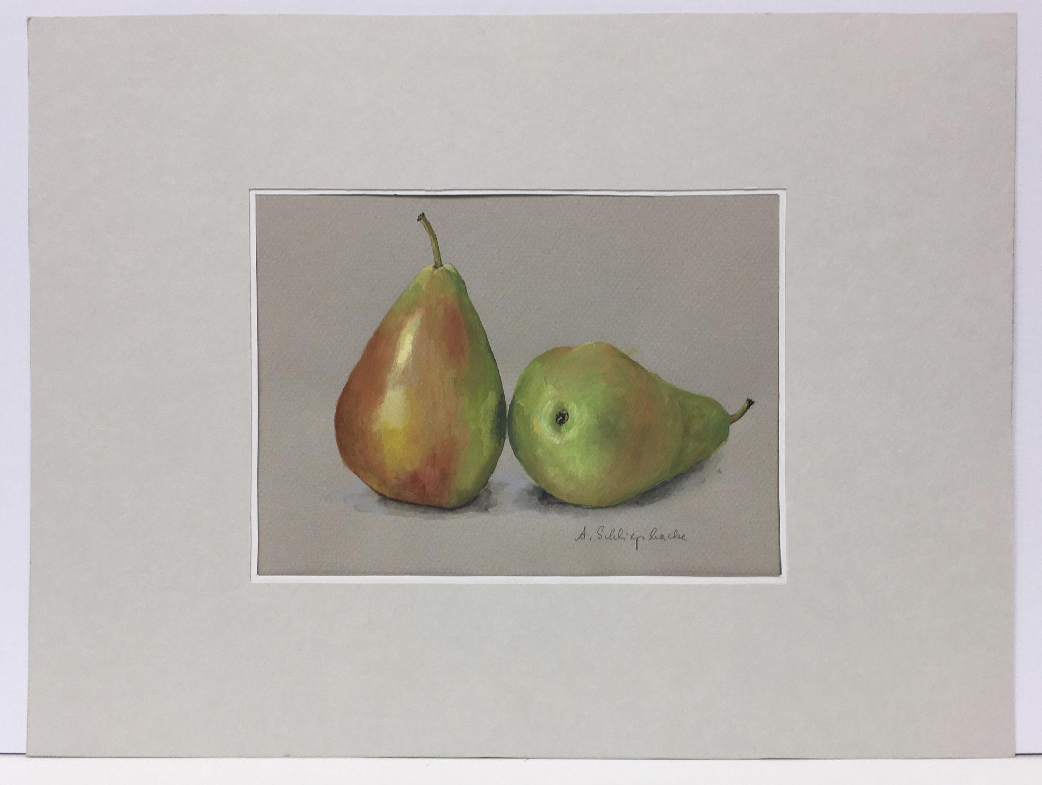 """Orig. Aquarell """"Stillleben Birnen"""" - 30 x 40 cm - 310,- €"""