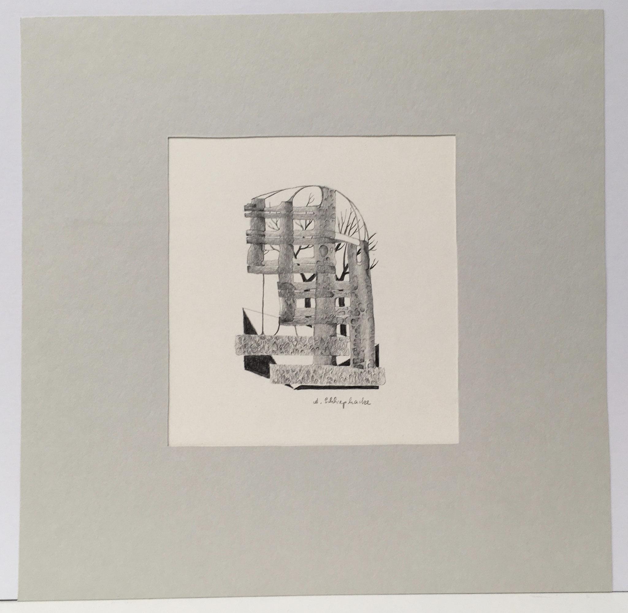 """Bleistiftzeichnung """"Fantasie II"""" - 30 x 30 cm - 390,- €"""