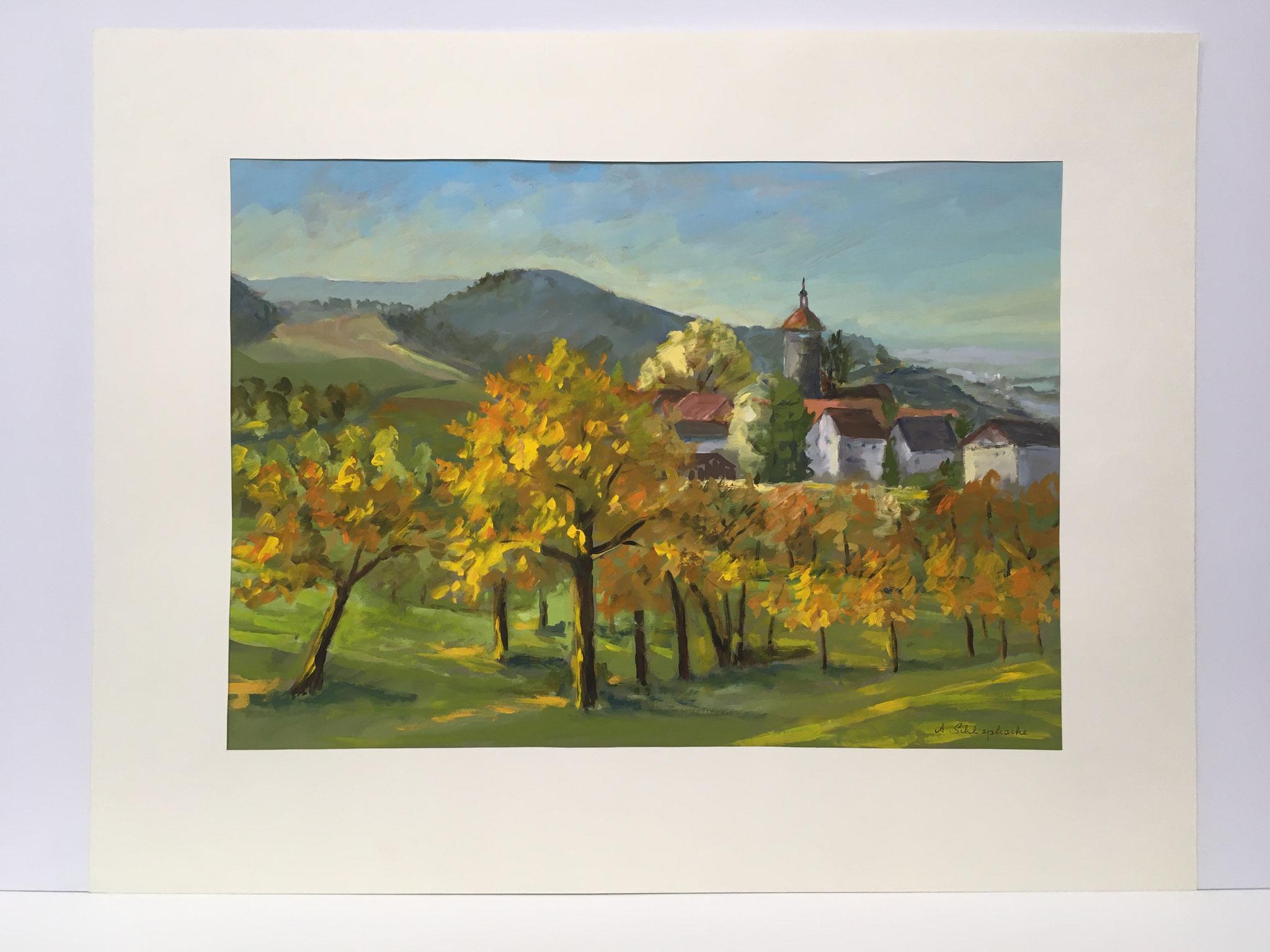 "Orig. Gouache auf Papier ""Bürg im Oktober"" - 90 x 70 cm - 1.490,-€"