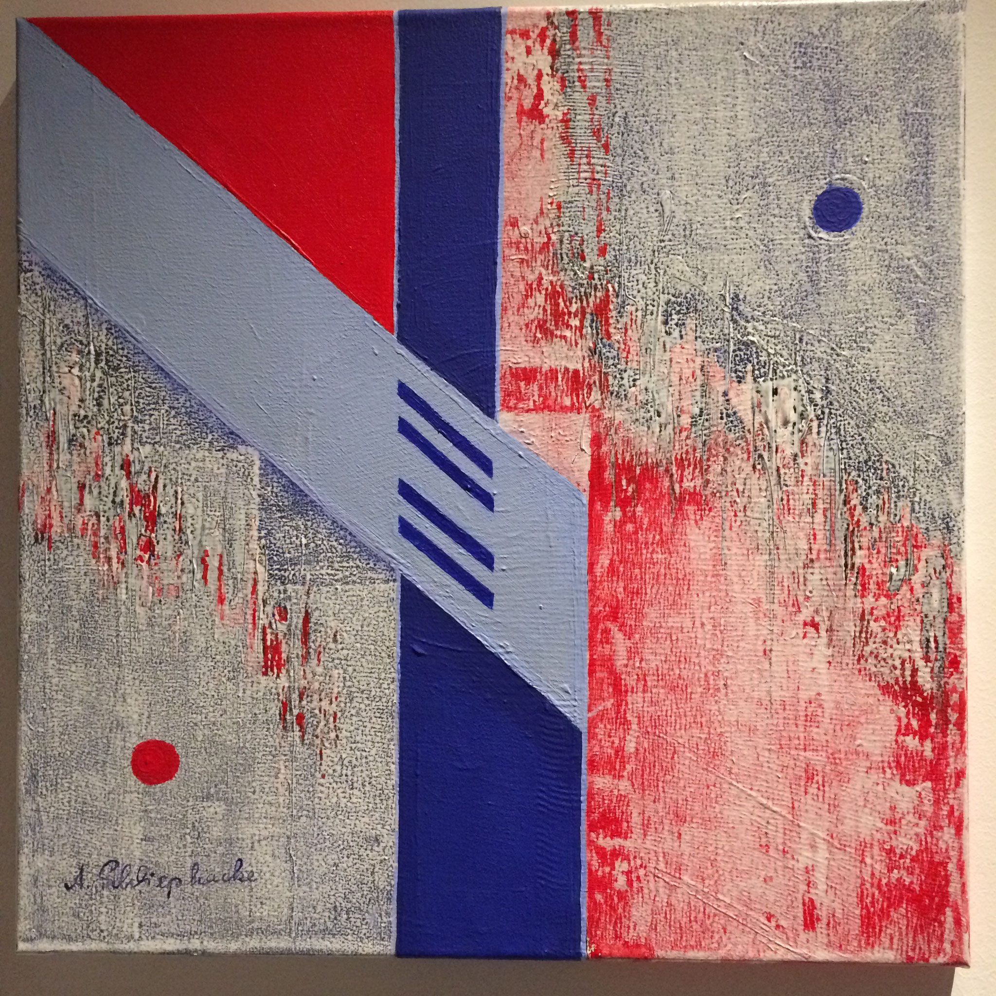 """Orig. Acrylbild auf Leinwand """"Blauer und roter Punkt"""" - 50 x 50cm - 990,-€"""