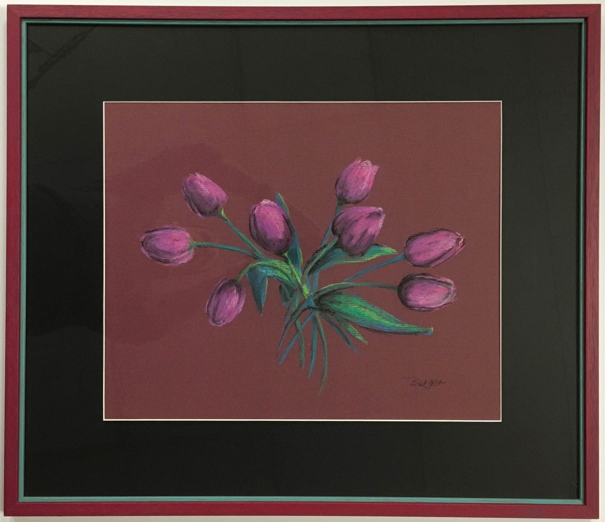 "Gisela Berger ""Tulpen"" Größe/Falzmaß 70,0 x 60,0cm mit Passepartout in Doppelrahmen gerahmt €449,-"