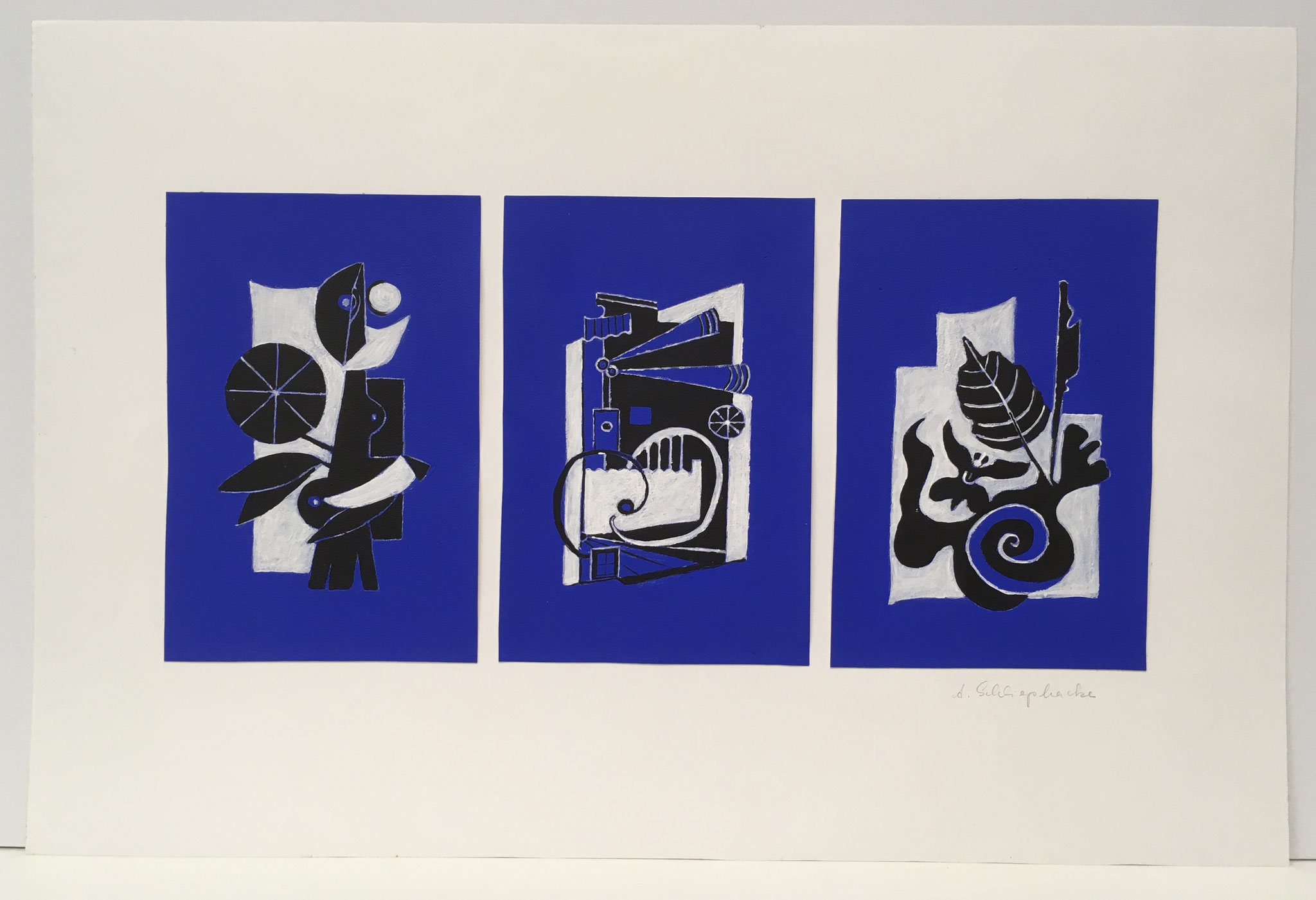 "Mischtechnik ""Phantasieformen blau"" - 56 x 37 cm - 490,- €"