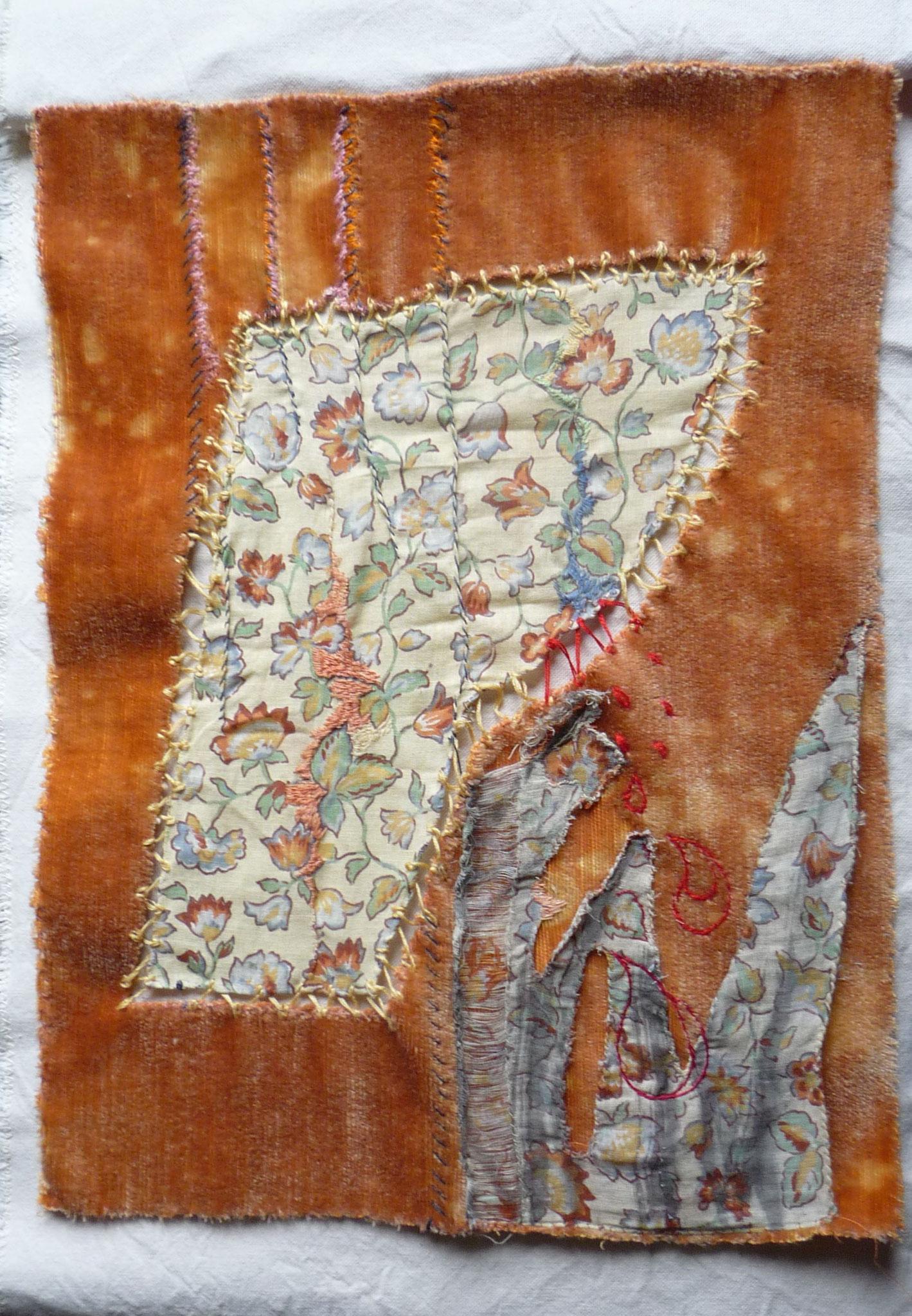 Mémoire mélées art textile 36x36cm