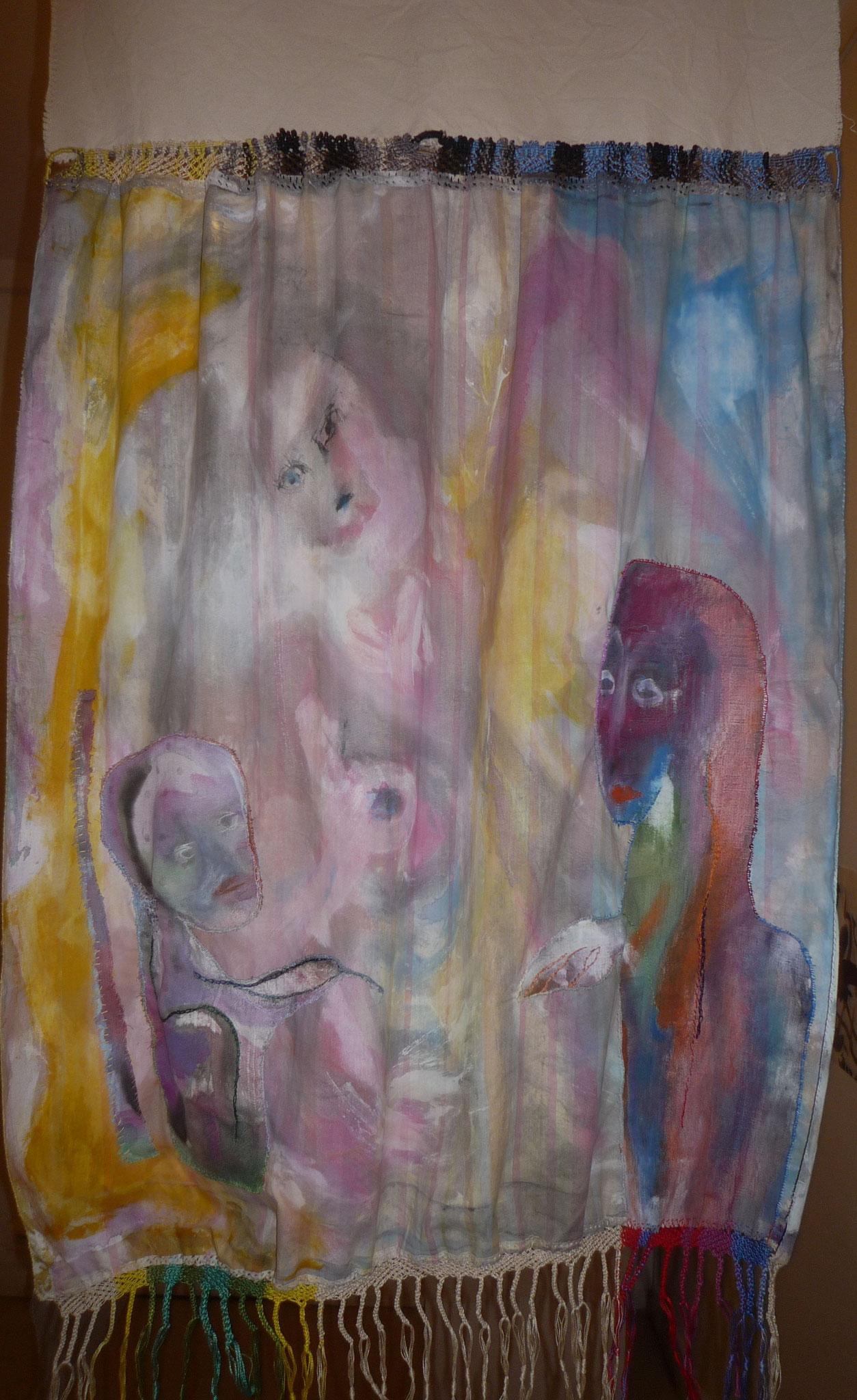 Conversation peinture tissus  (recto) vendu