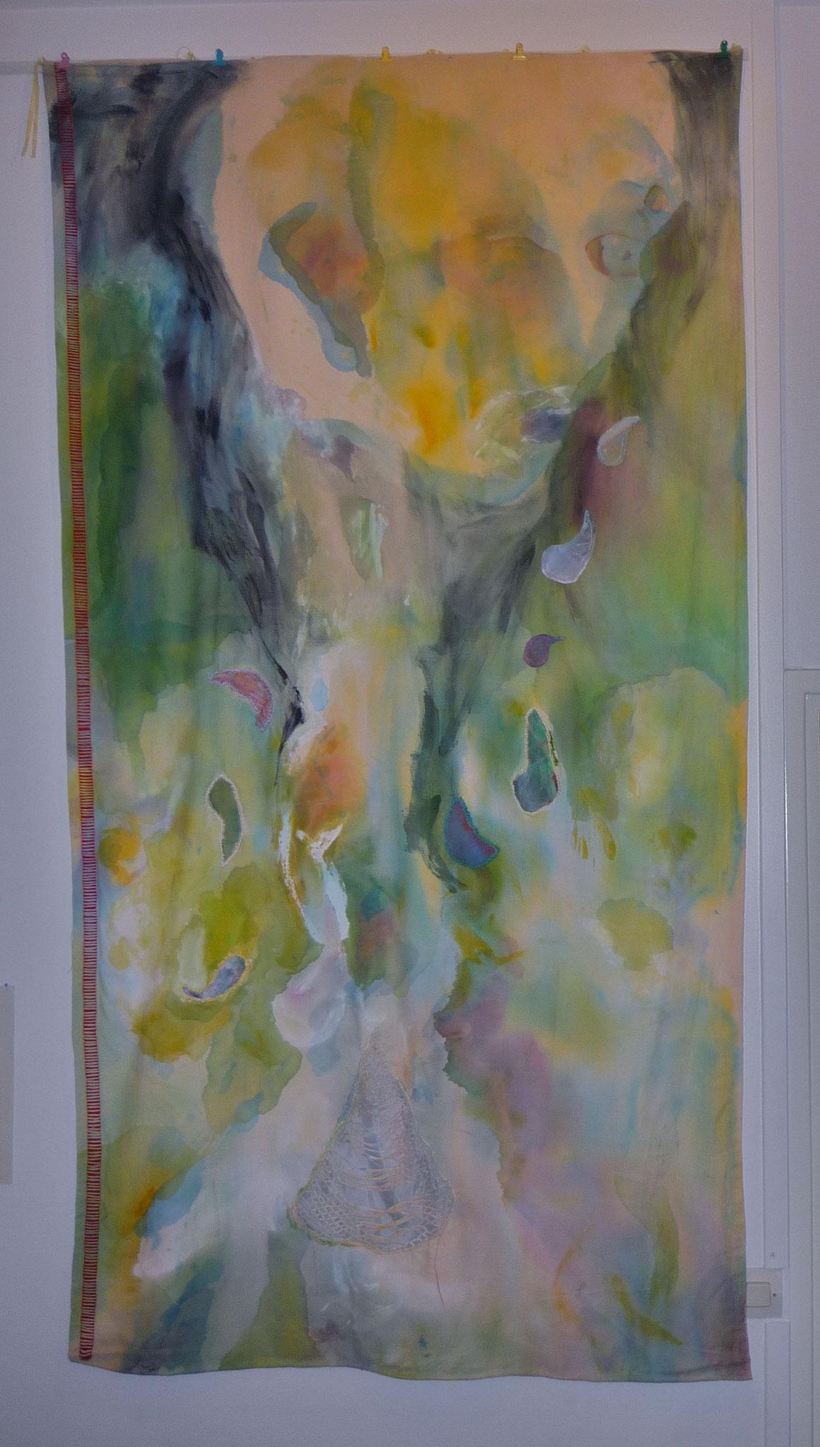 Peinture tissus Broderie   1,80 x 1,20m  - 2012