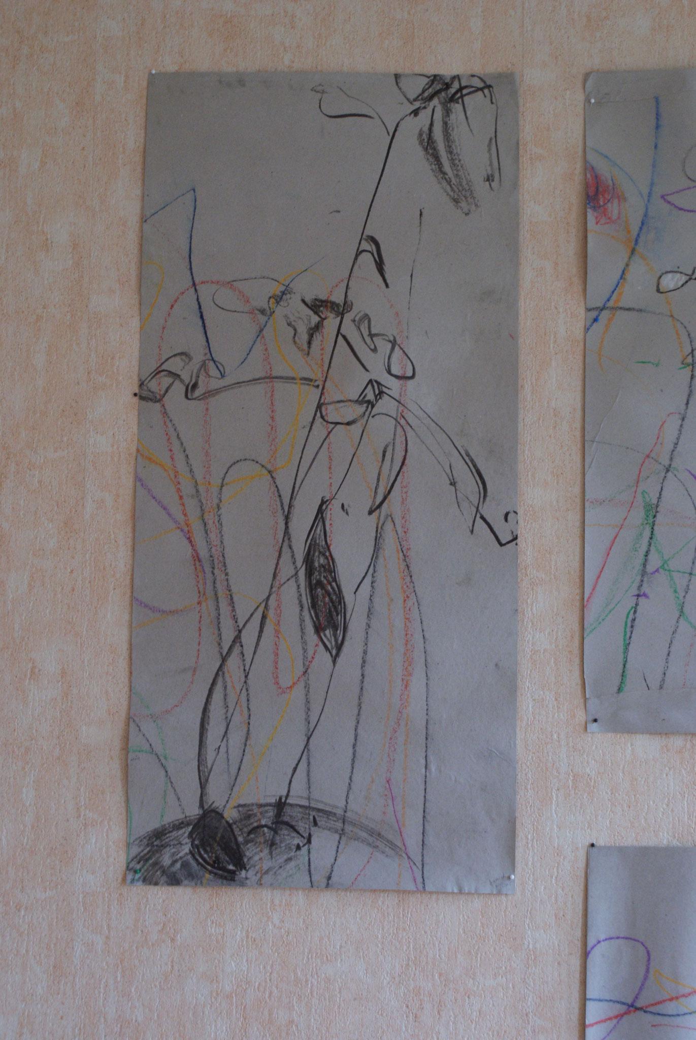 Texhnique mixte sur papier, l'avocatier du studio de danse