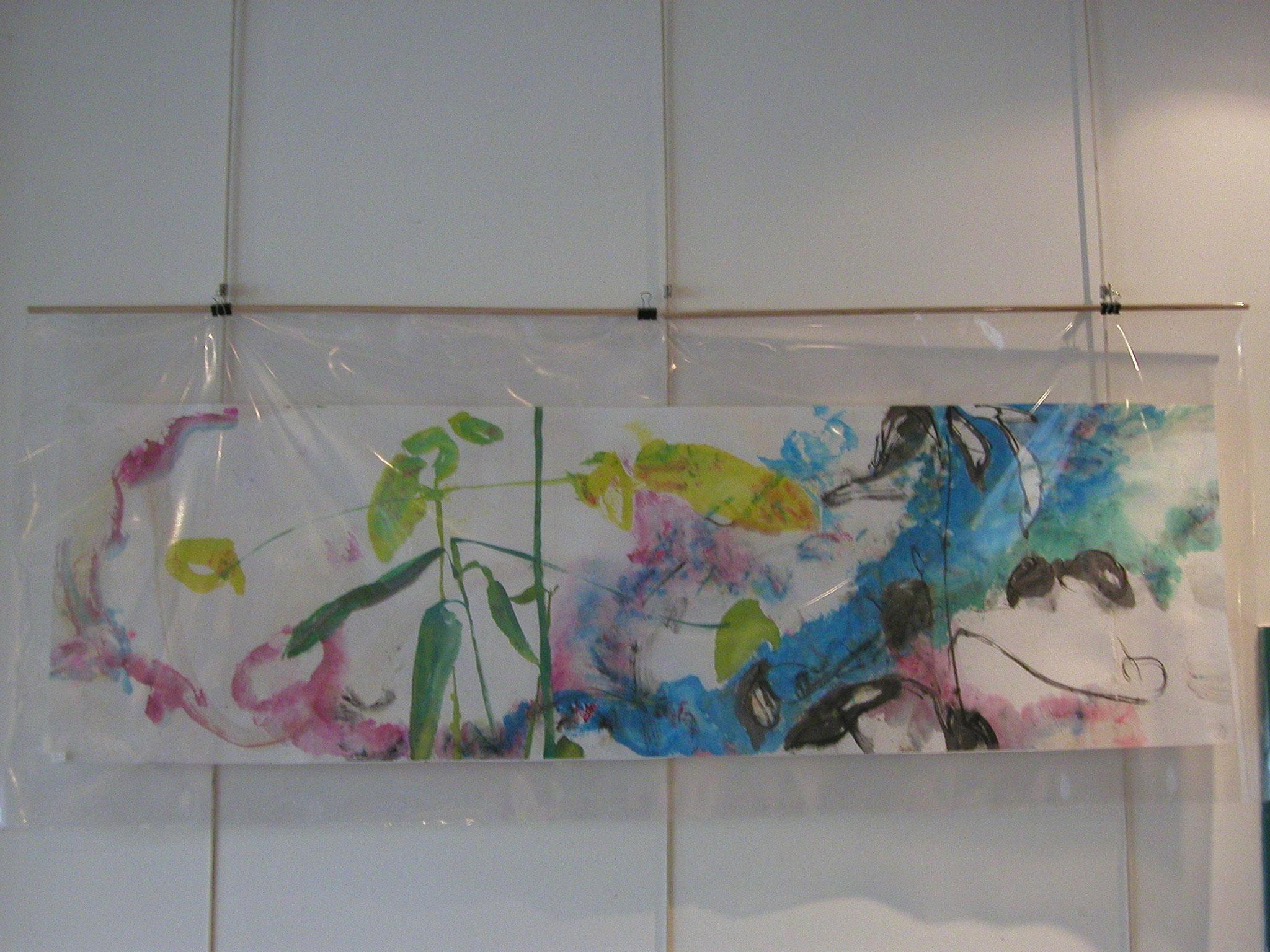 Aquarelle sur papier chinois. 0,50 x 1,30m